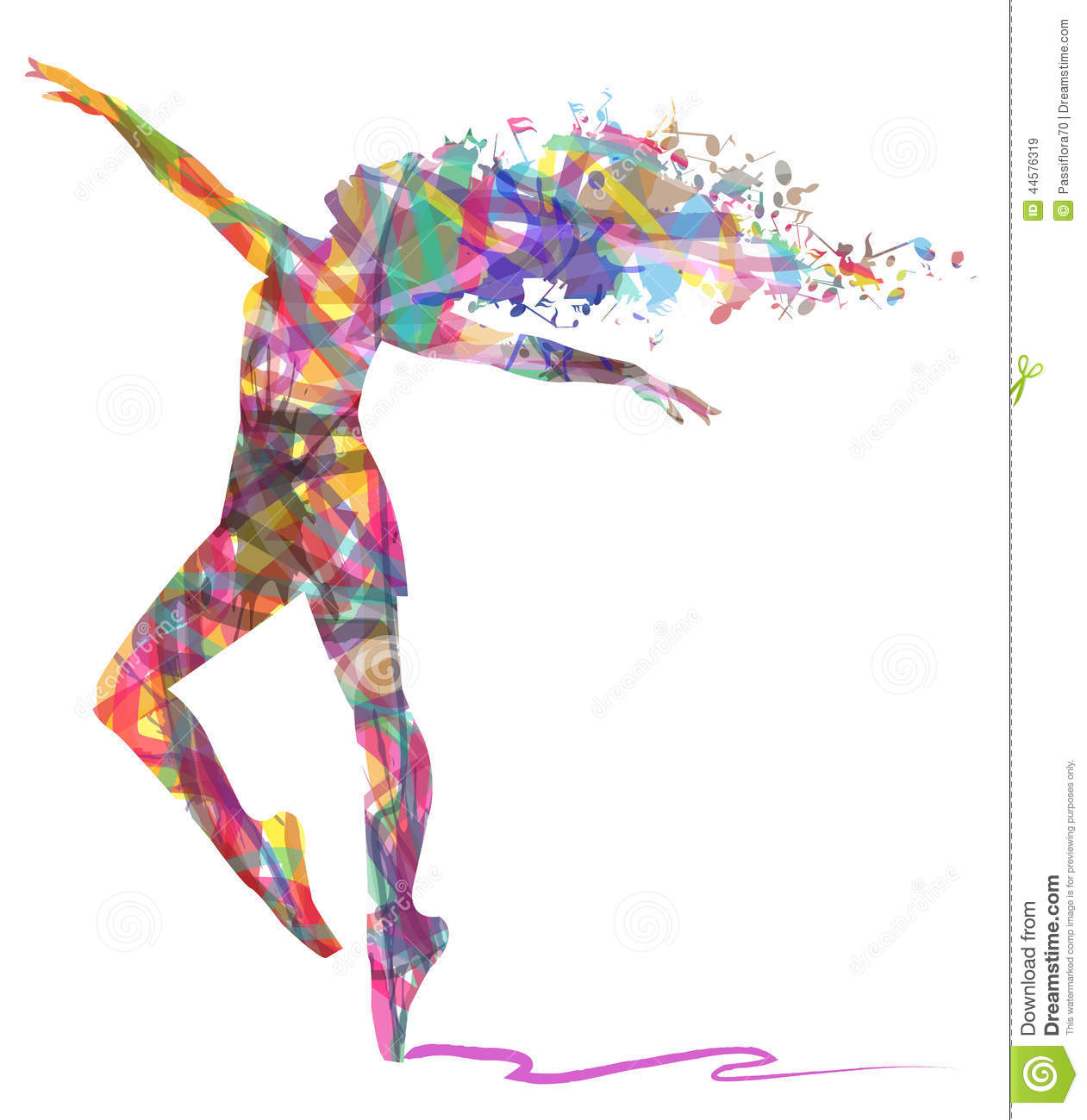 Abstract Silhouette Of Dancer And Musical Notes Stock Illustration ...