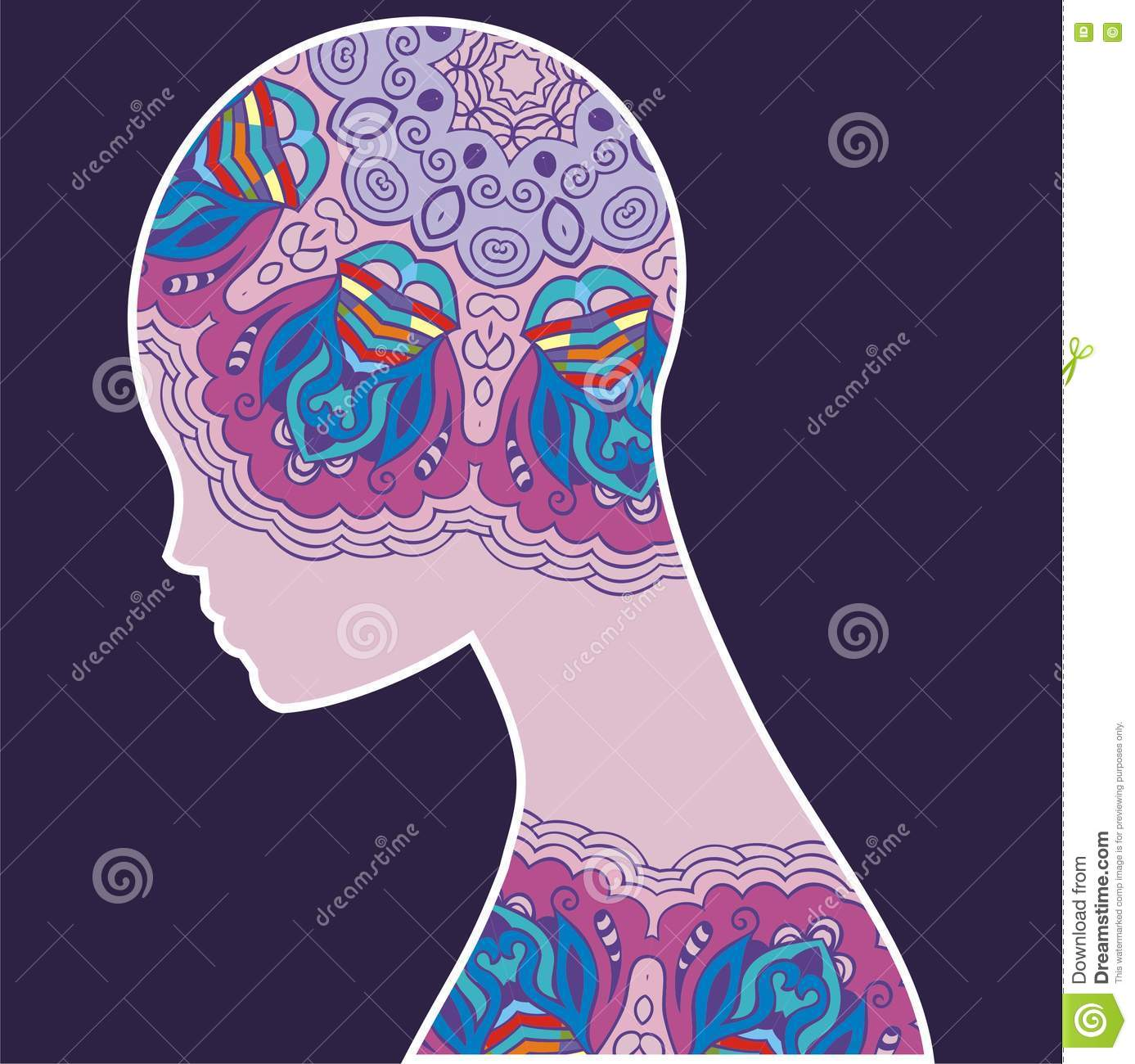 Abstract Silhouette Woman. Fantasy Image Of The Soul, Mind. Stock ...