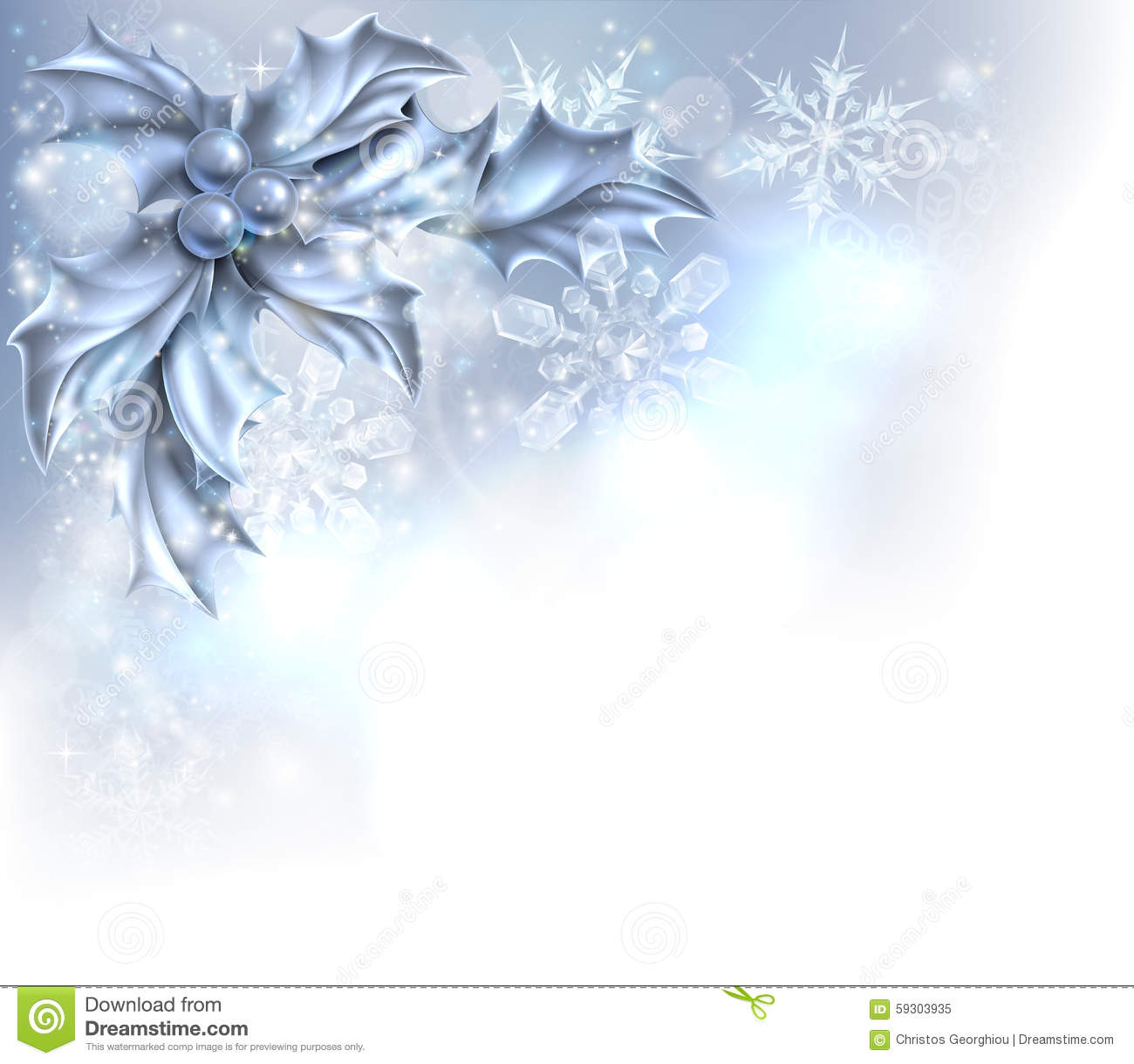 Abstract silver christmas holly background stock vector