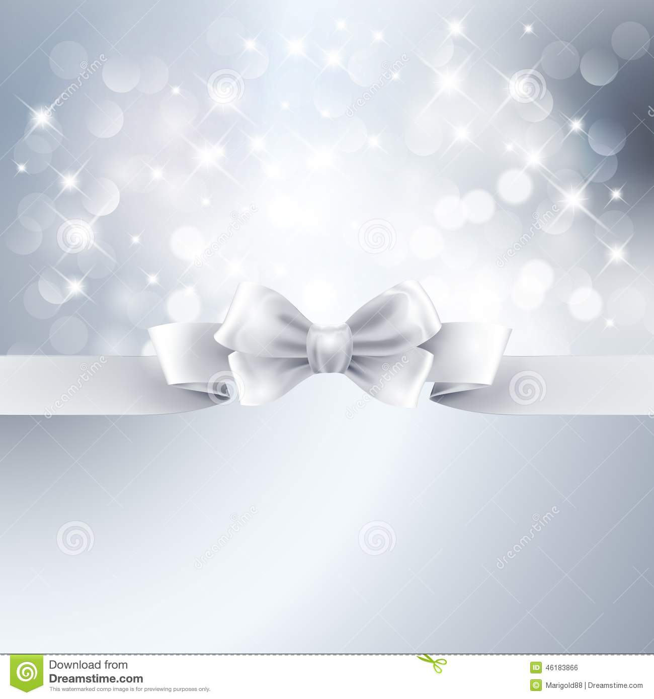 abstract silver light background with white ribbon stock