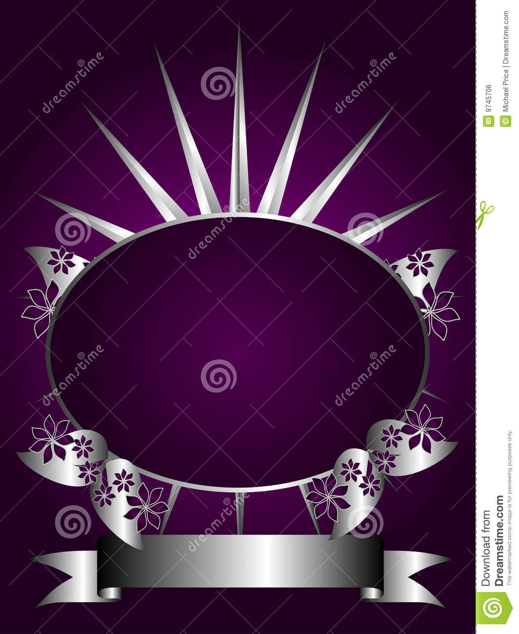 Abstract Silver And Purple Floral Vector Design Stock