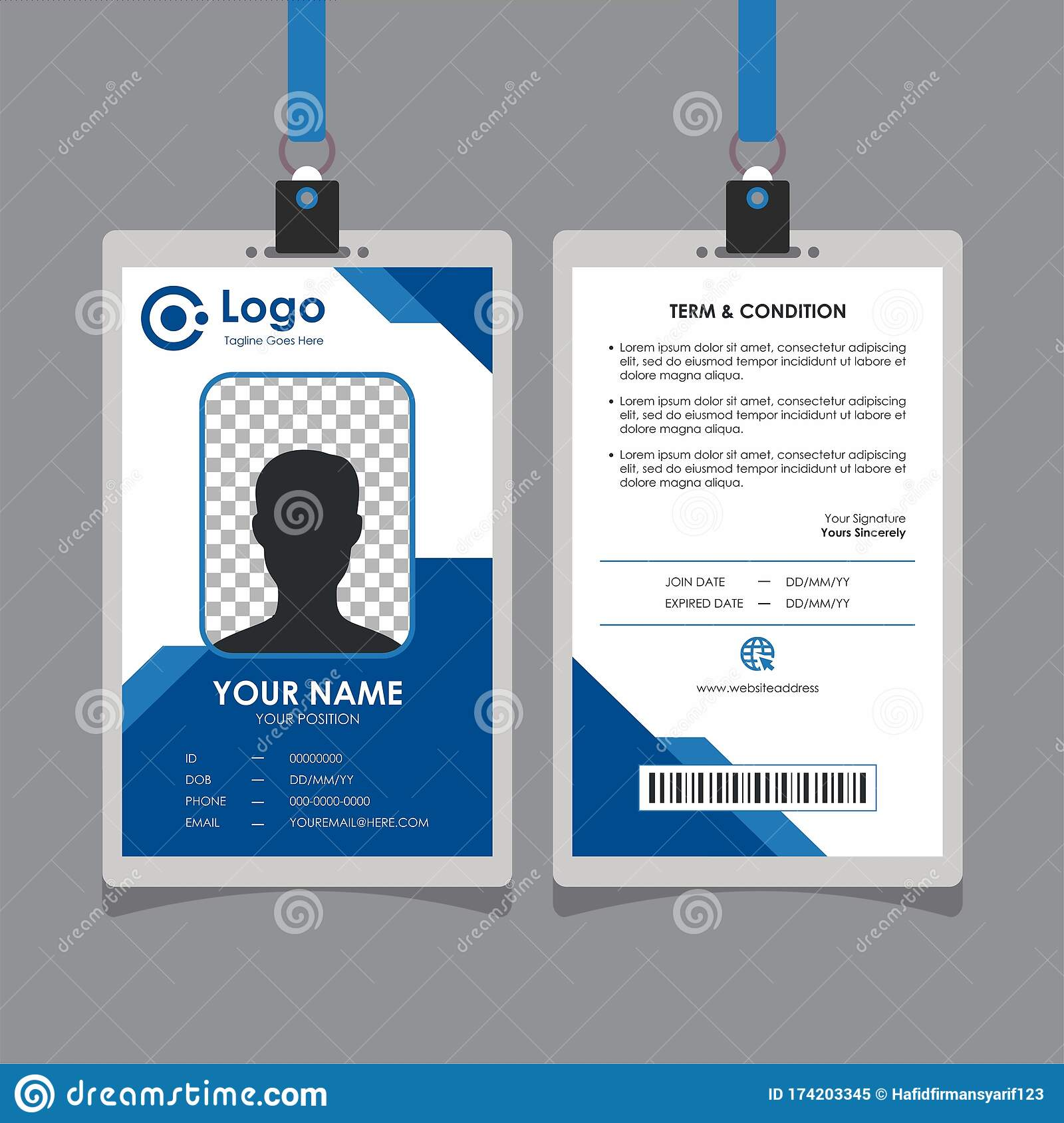 Abstract Simple Geometric Blue Id Card Design Stock Vector Pertaining To Conference Id Card Template