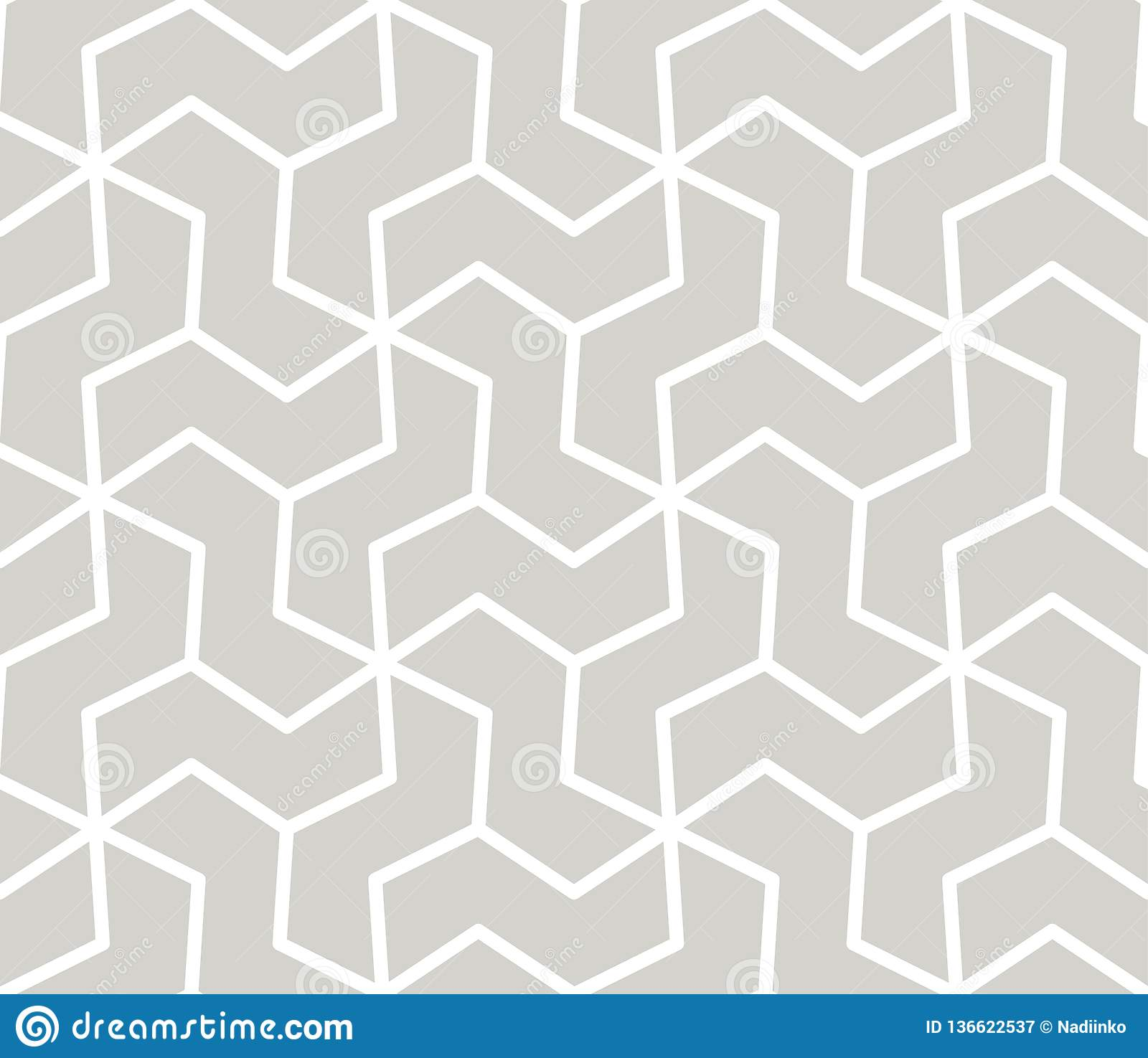 Abstract simple geometric vector seamless pattern with white line texture on grey background. Light gray modern