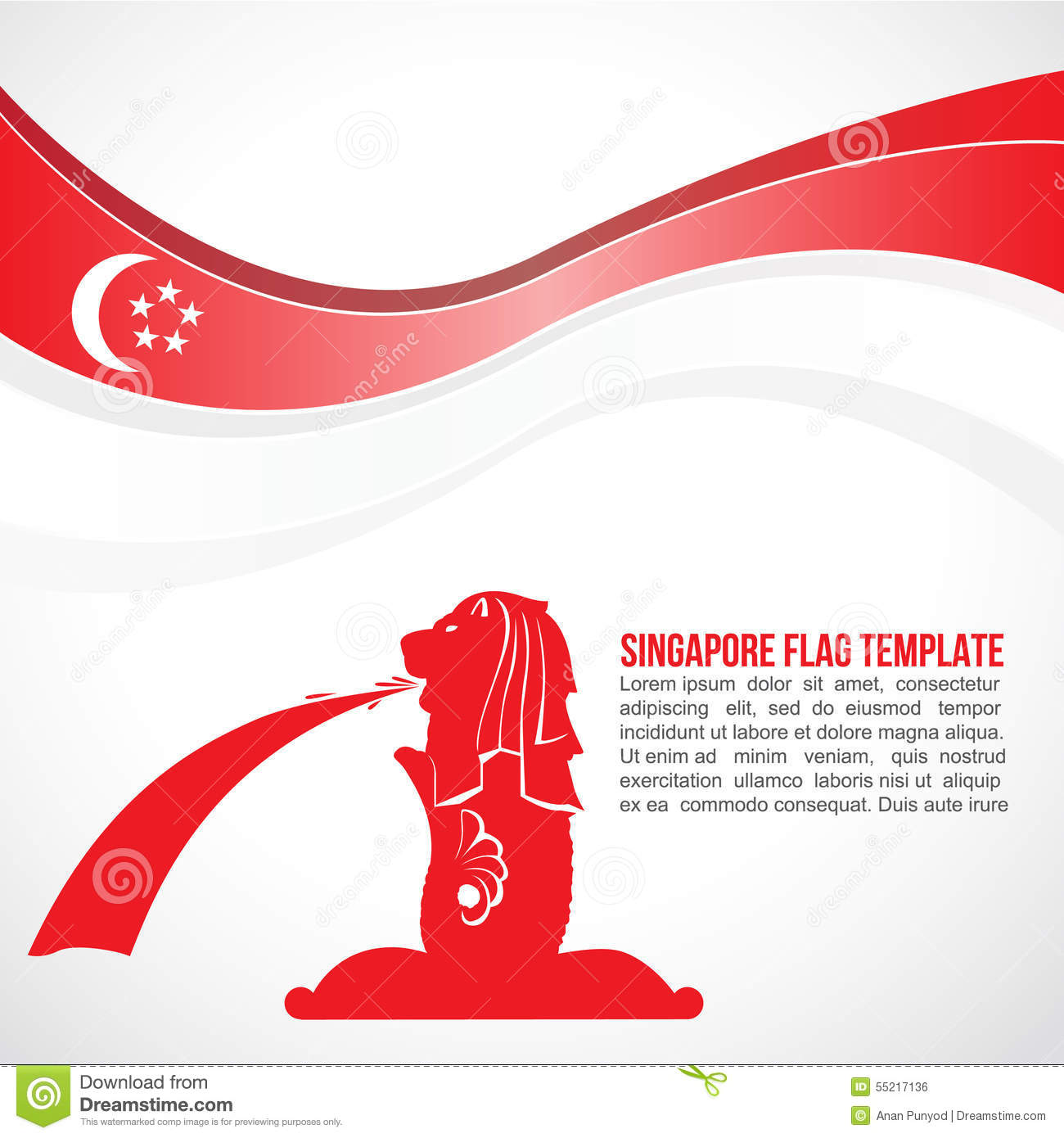abstract singapore flag wave and merlion fountain stock