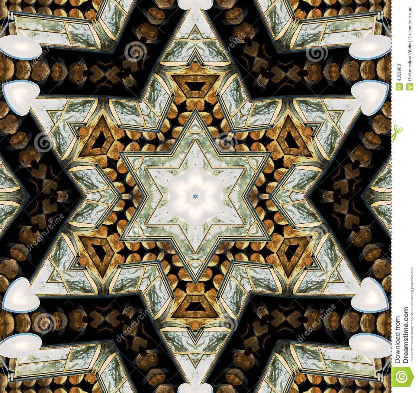 abstract six-final star with patterns  royalty free stock photos