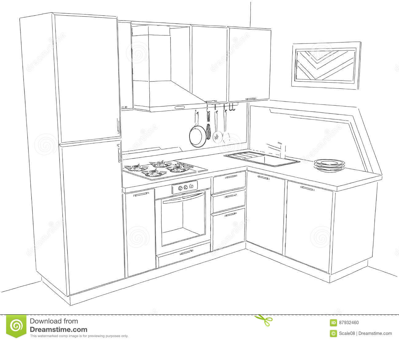 Kitchen perspective drawing - Royalty Free Illustration