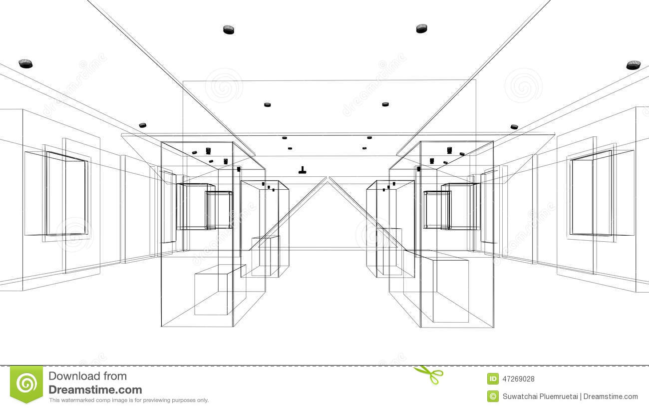 Exhibition Booth Plan : Abstract sketch design of exhibition room interior museum