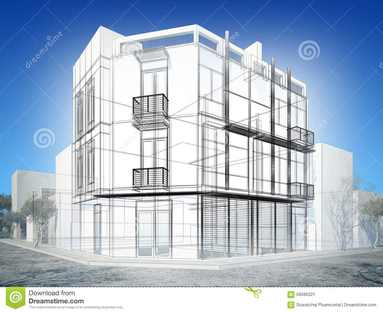 Exterior Building Design abstract sketch design of exterior building stock photo - image