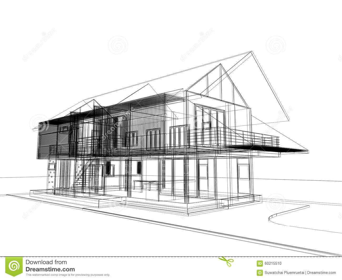 Download Abstract Sketch Design Of Exterior House Stock Illustration    Illustration Of Engineering, Build: