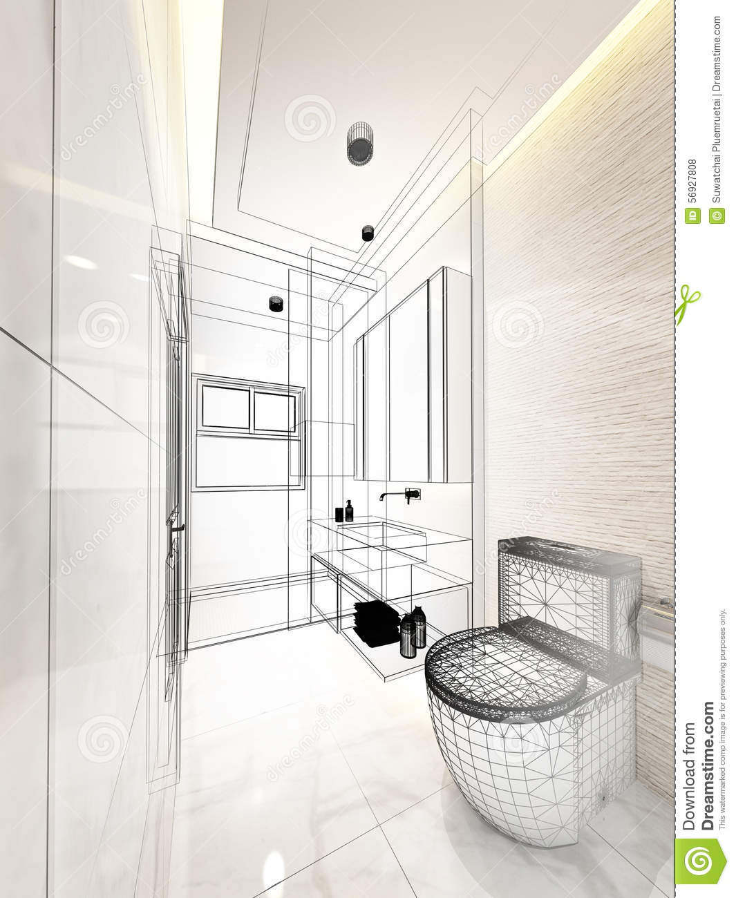 Abstract Sketch Design Of Interior Bathroom Stock Illustration Image 56927808