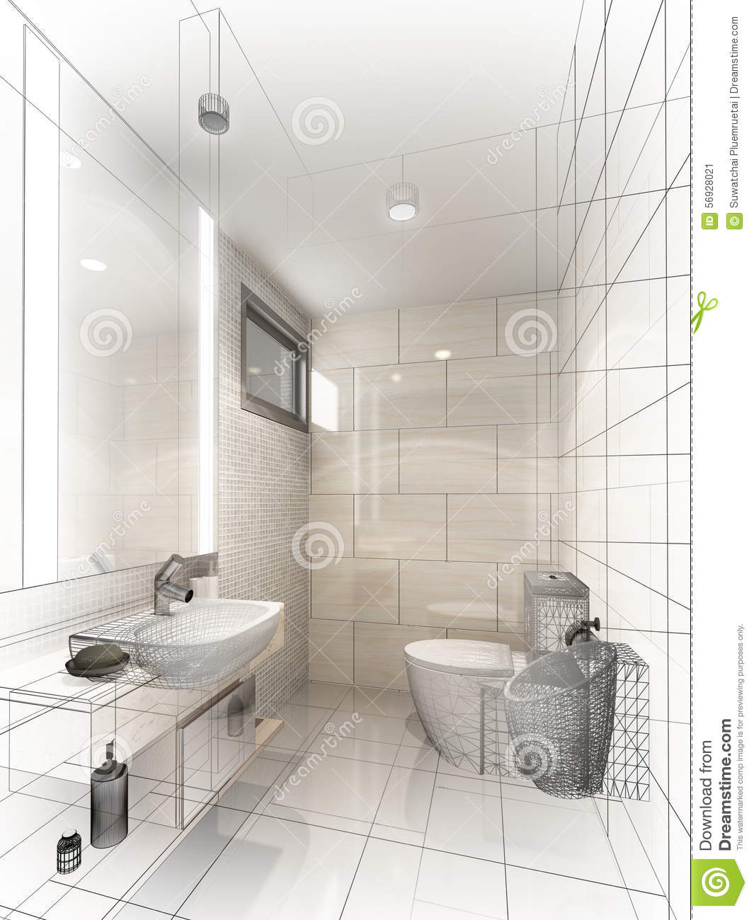 abstract sketch design of interior bathroom stock illustration image 56928021. Black Bedroom Furniture Sets. Home Design Ideas