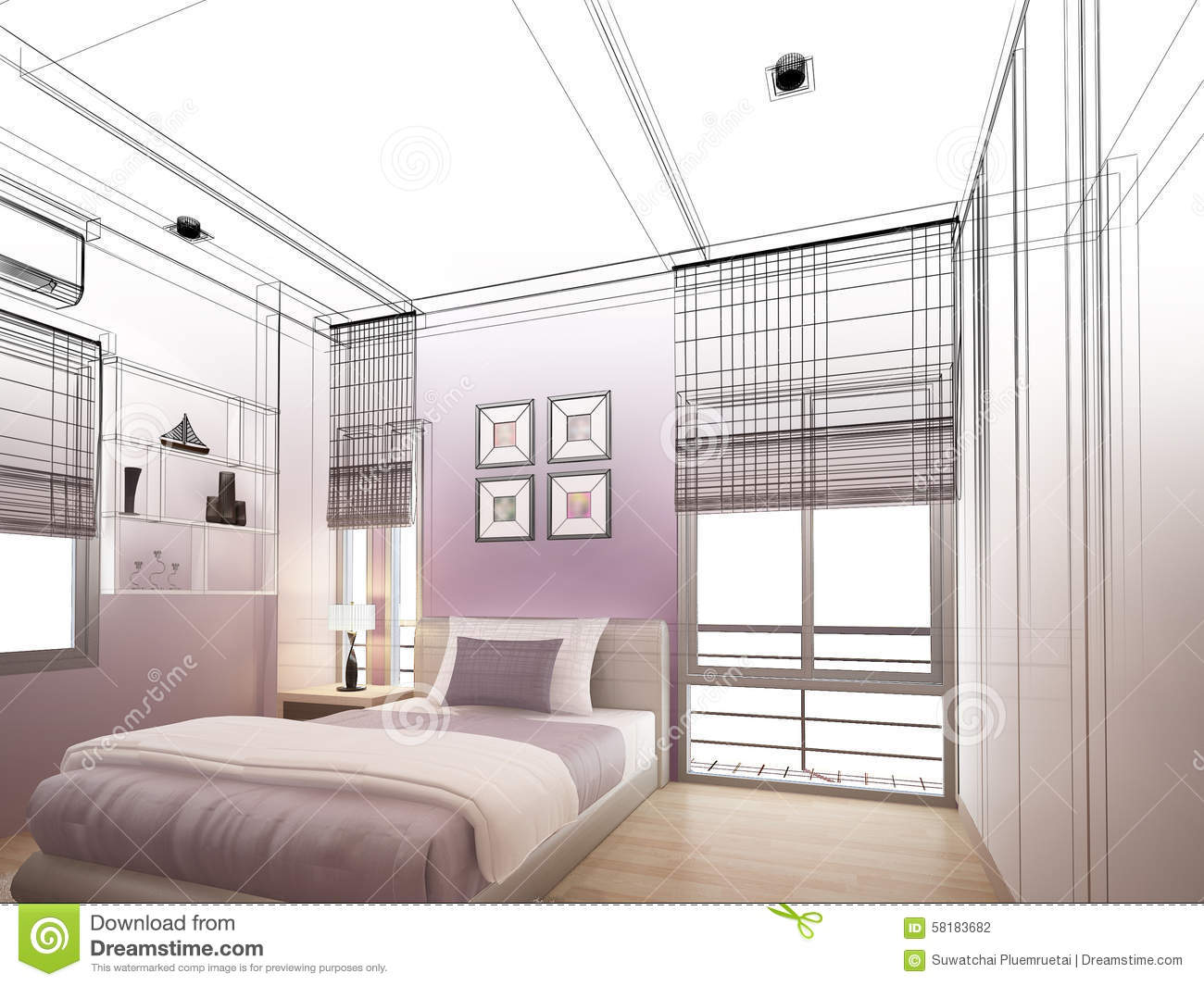 Interior Design Bedroom Sketches. Abstract Sketch Design Of Interior Bedroom.  Blueprint, Family.