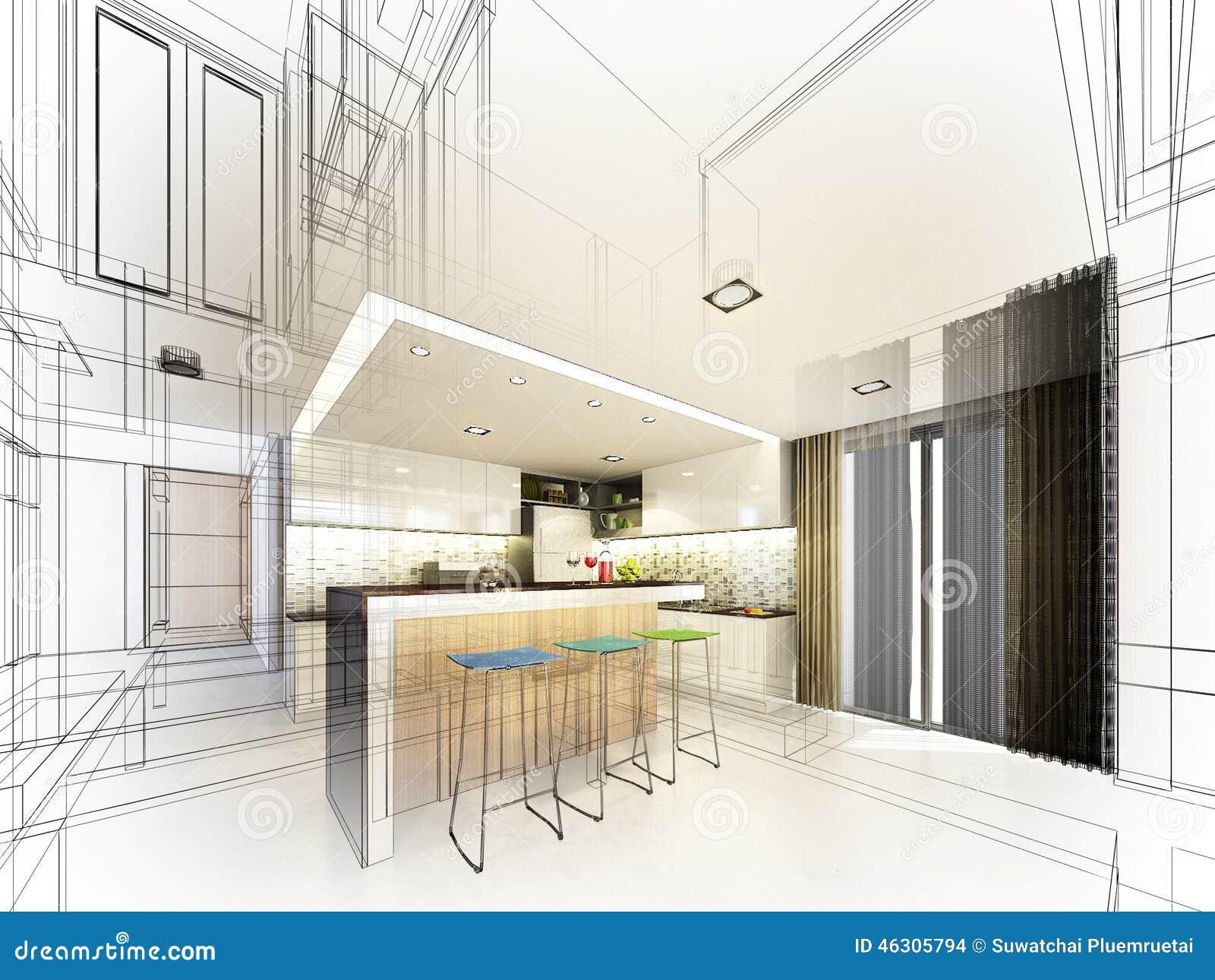 Abstract Sketch Design Of Interior Bedroom Stock