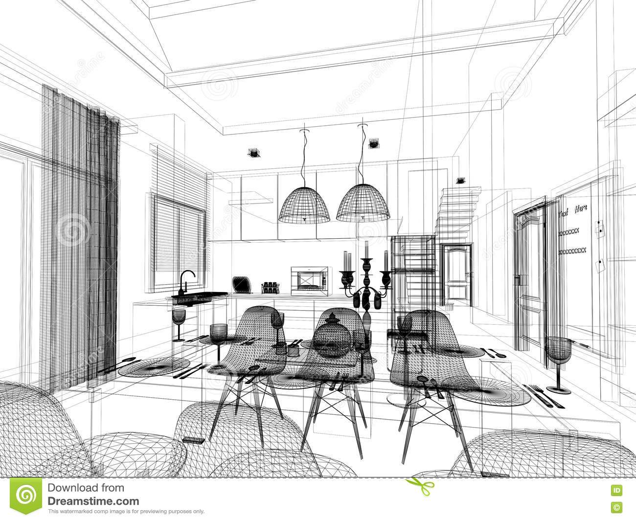 Abstract Sketch Design Of Interior Dining And Kitchen Room 3d Royalty Free Stock Images