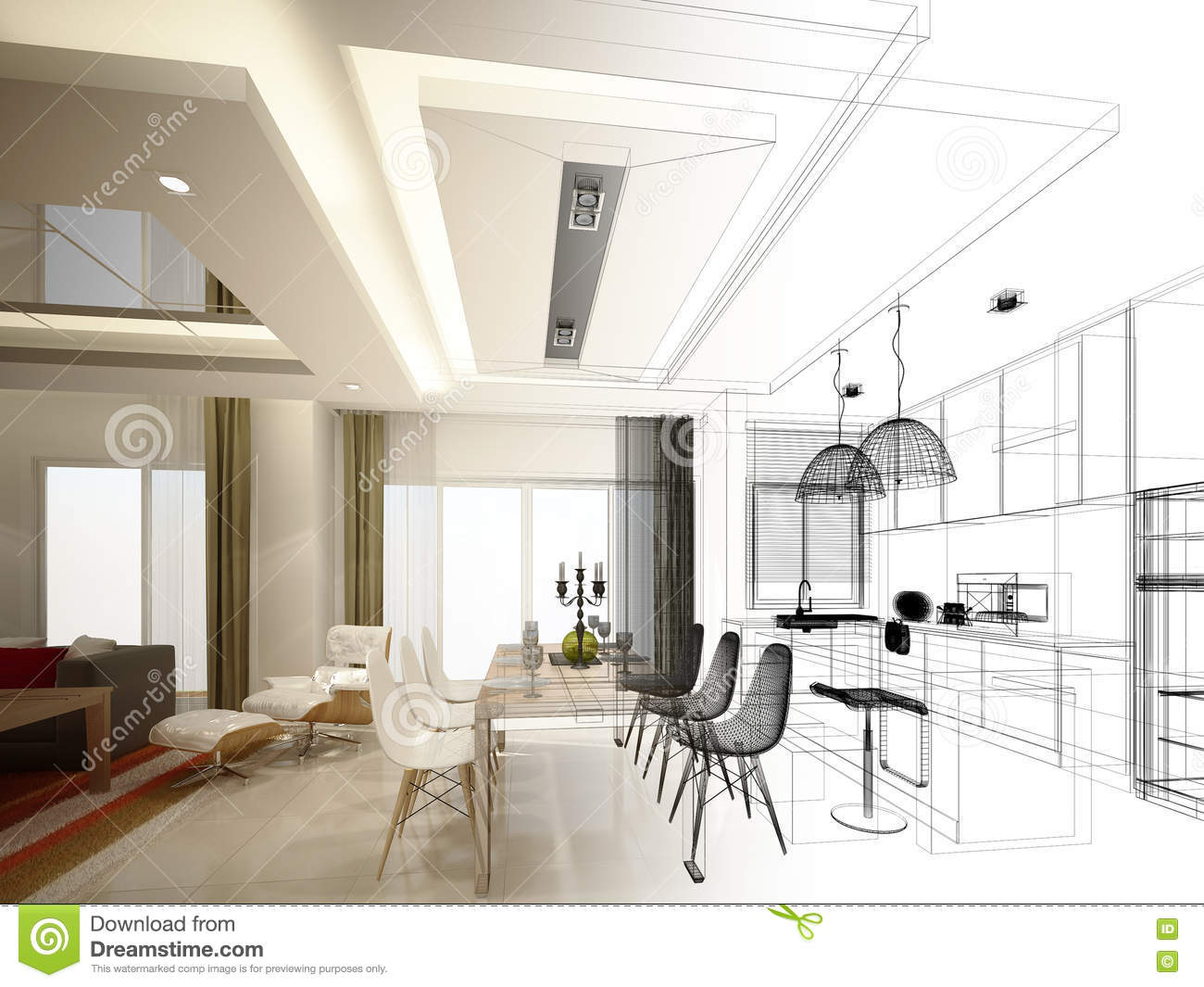 Abstract sketch design of interior dining and kitchen room for Interior design of kitchen room