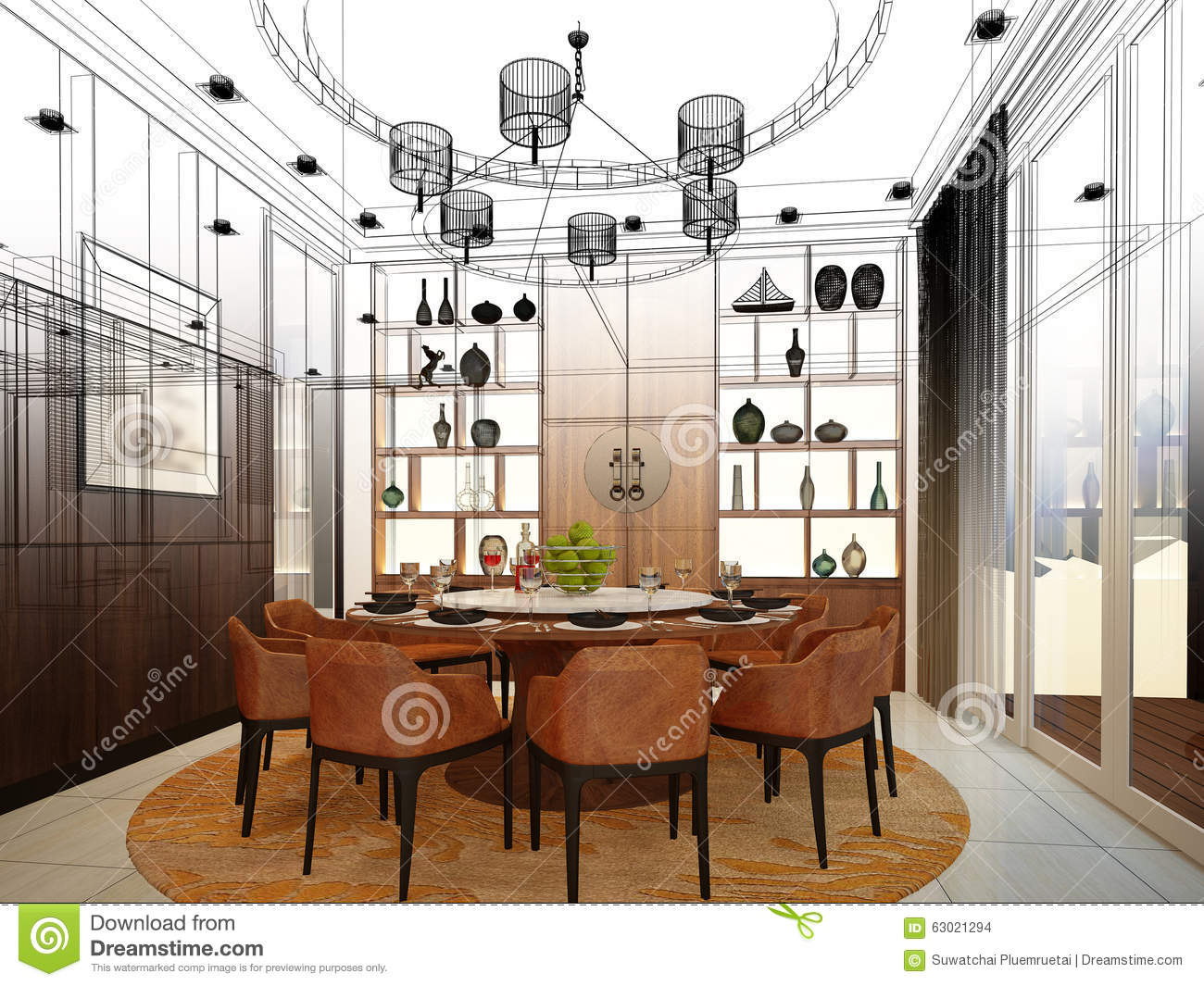 Abstract Design Dining Interior Room Sketch