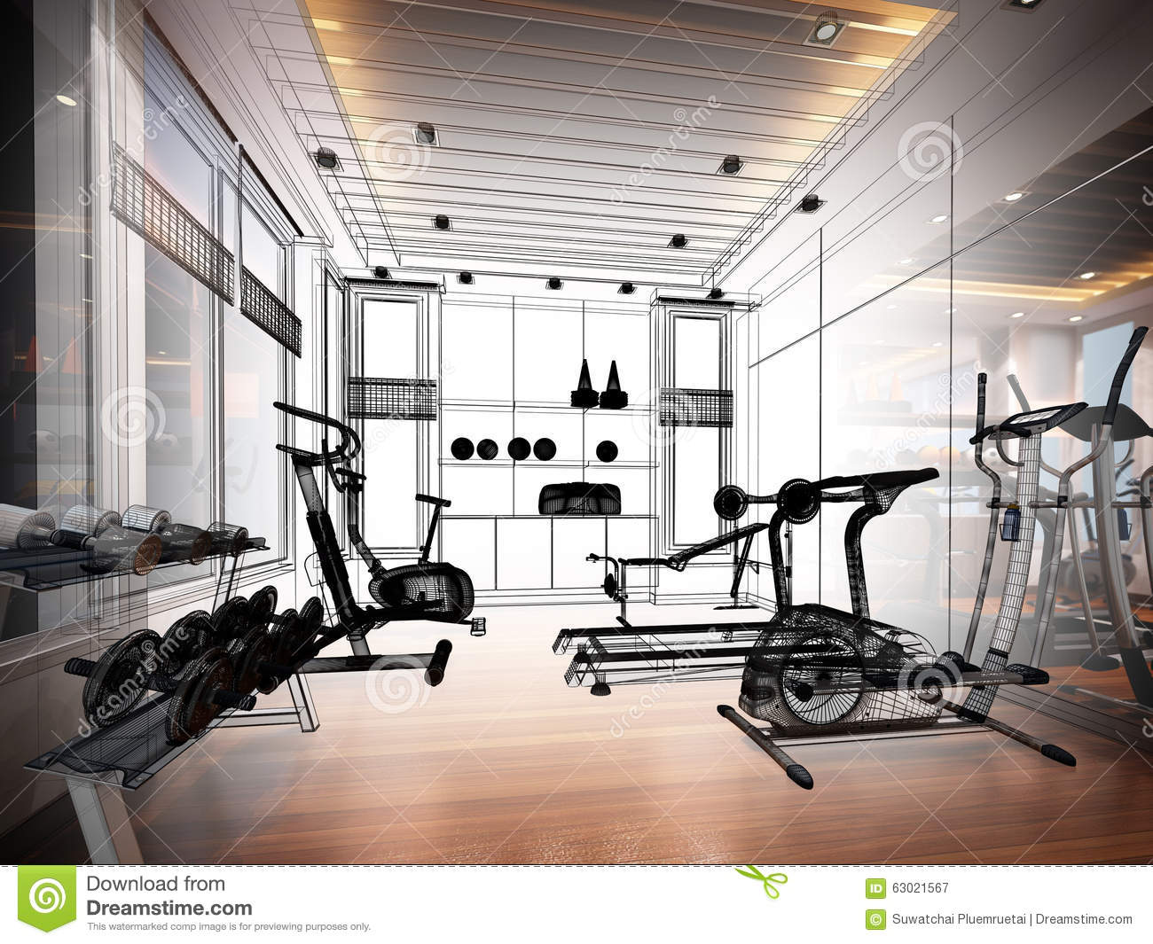 Abstract sketch design of interior fitness room stock
