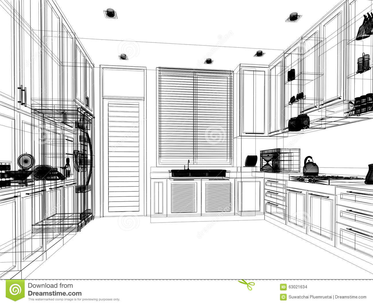 Abstract Sketch Design Of Interior Kitchen Stock ...