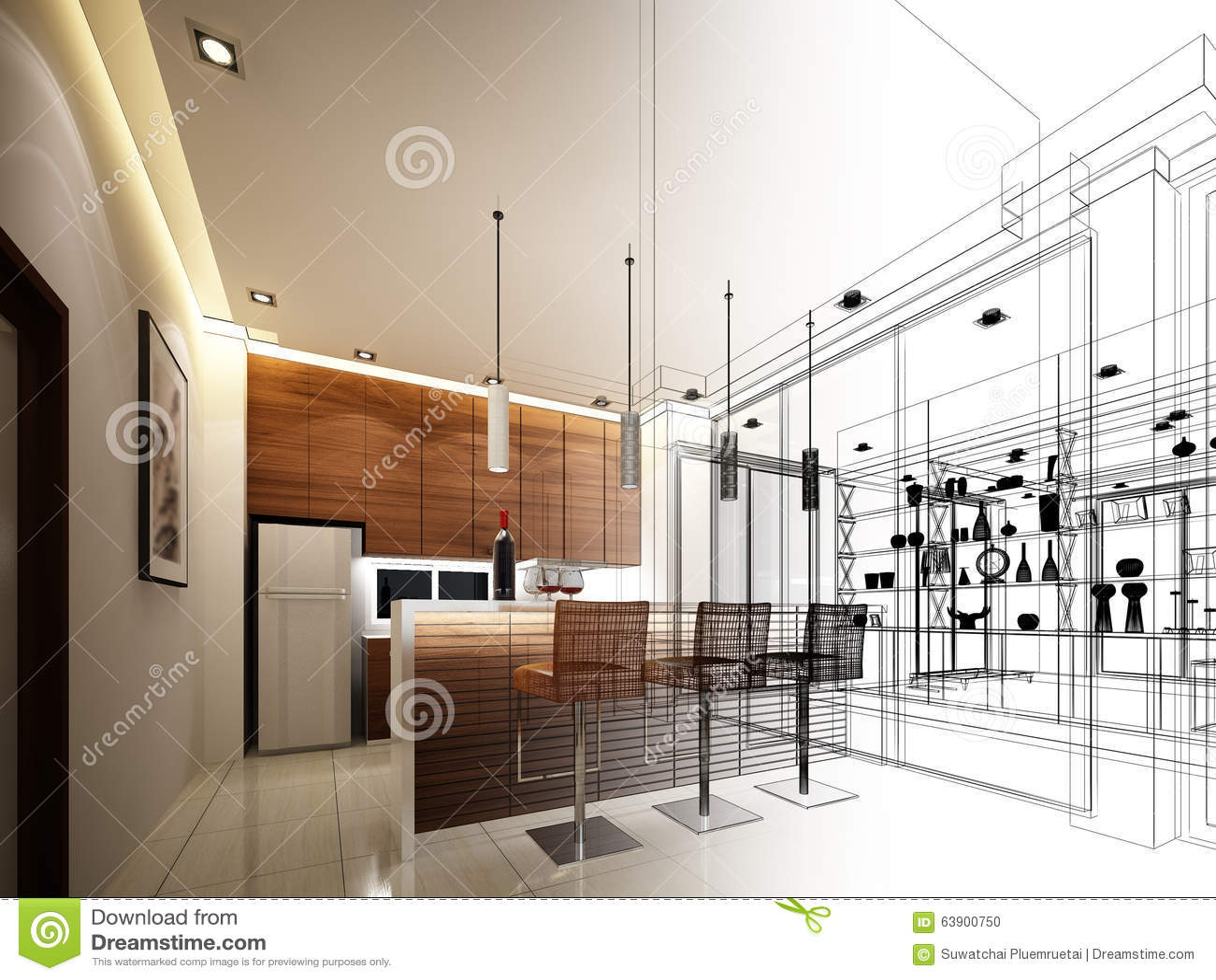 Abstract Sketch Design Of Interior Kitchen Stock Illustration - Illustration of modern