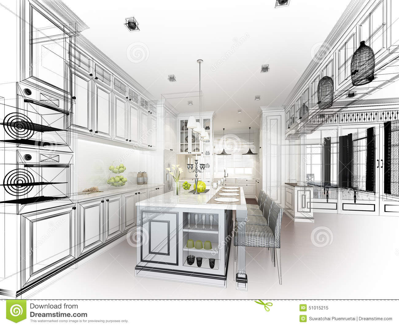 Abstract Sketch Design Of Interior Kitchen Stock Illustration