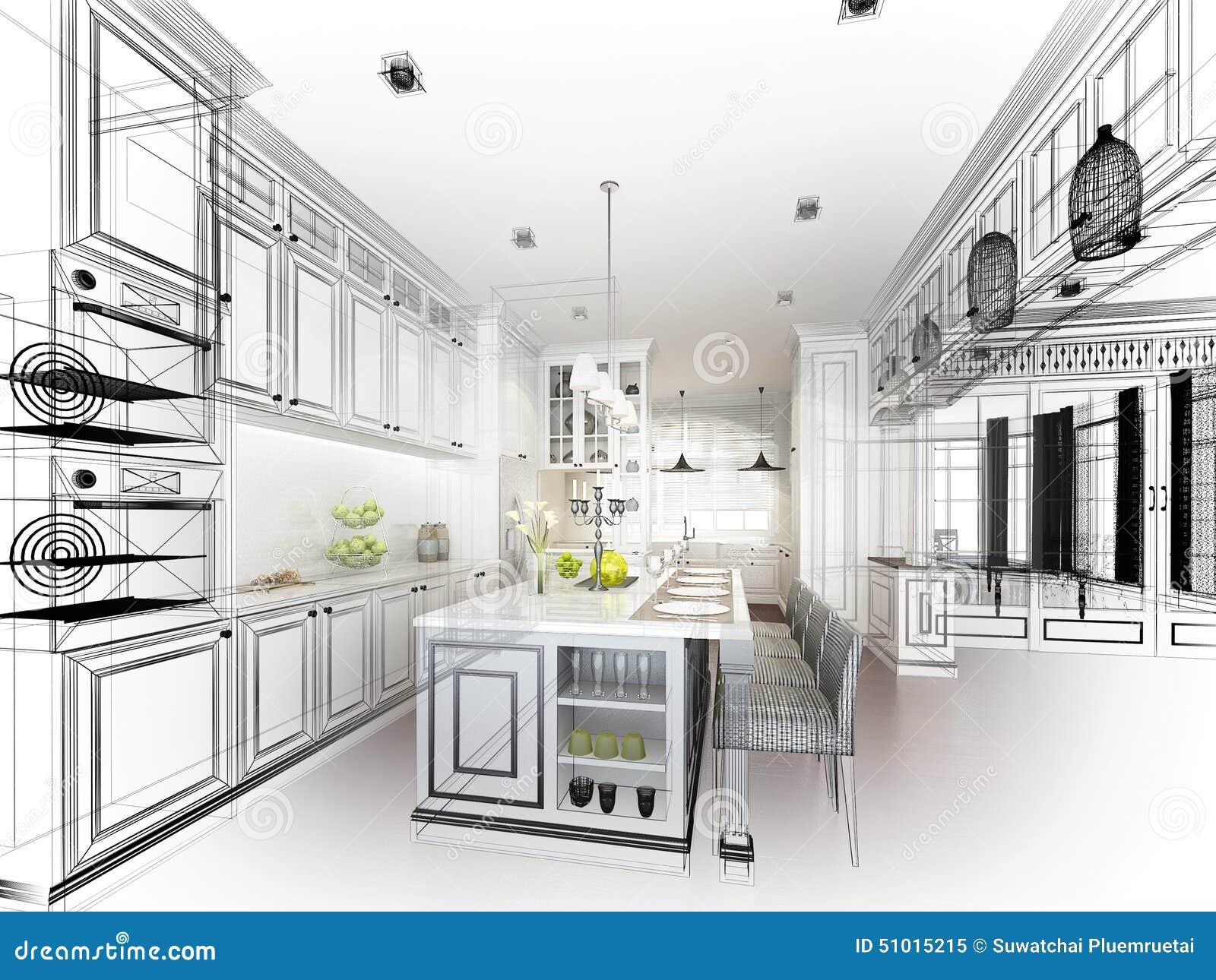 Abstract Sketch Design Interior Kitchen Stock Illustration Image