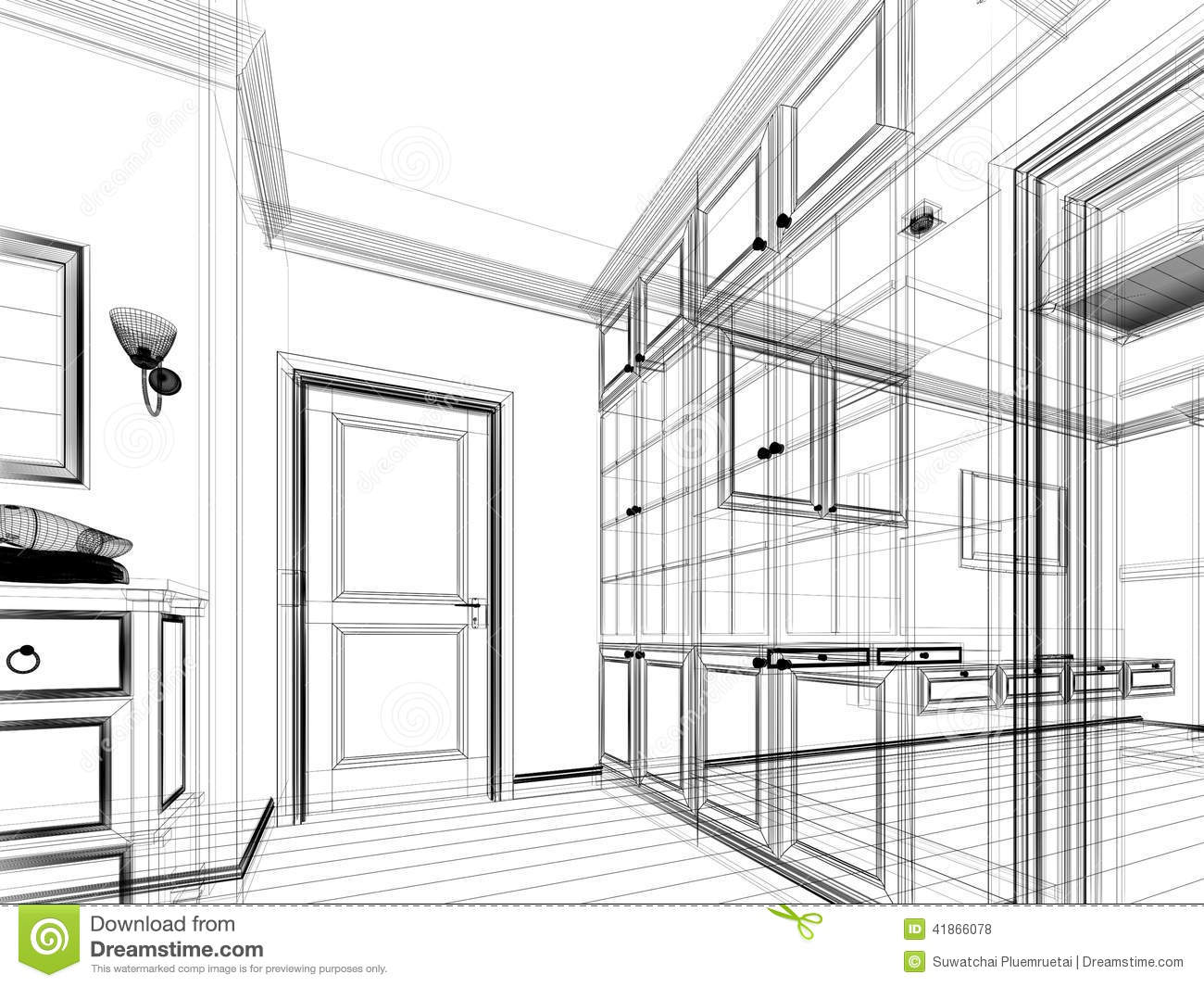 abstract sketch design of interior walk-in closet stock illustration