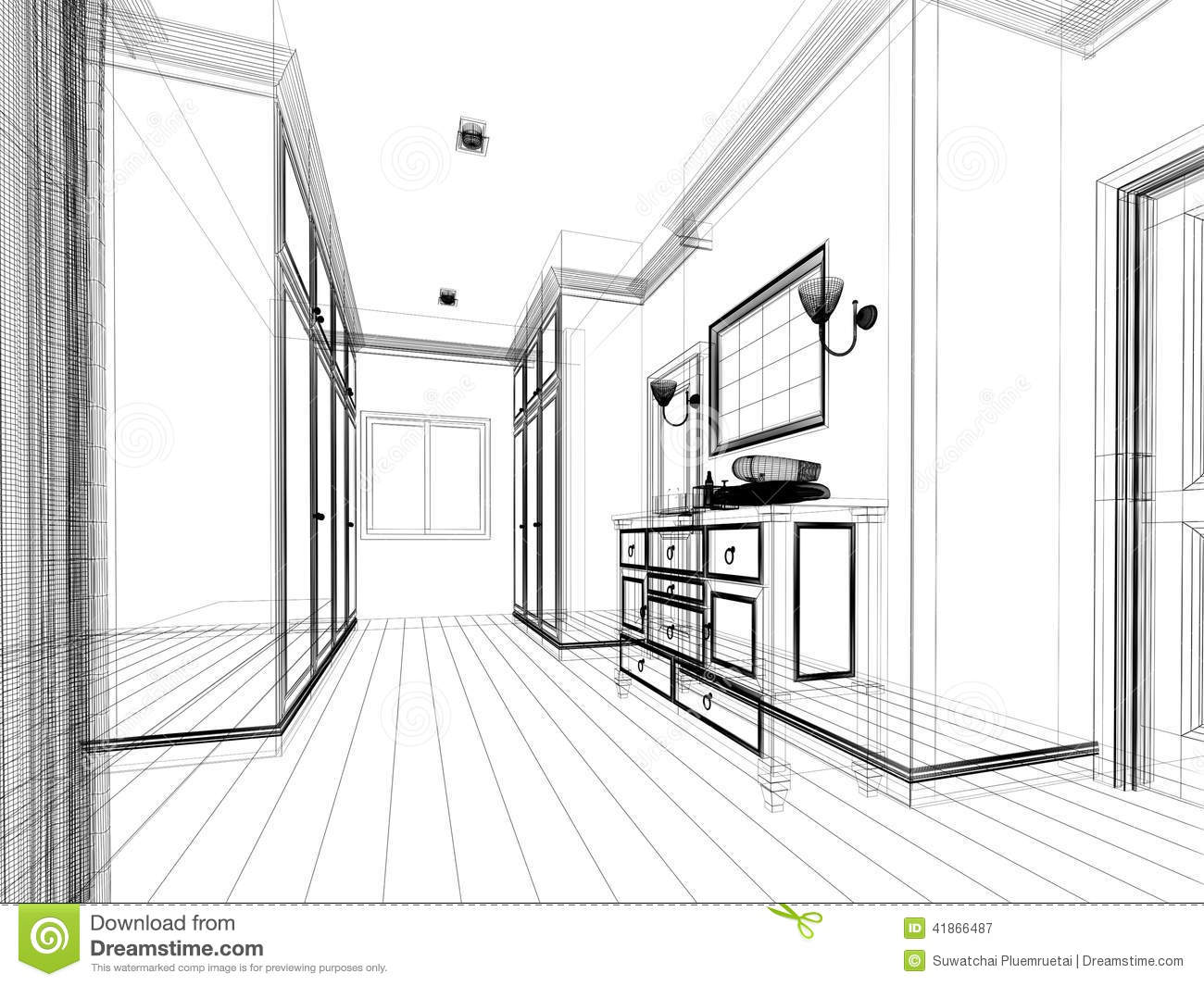 Abstract Sketch Design Of Interior Walk-in Closet Stock Illustration ...