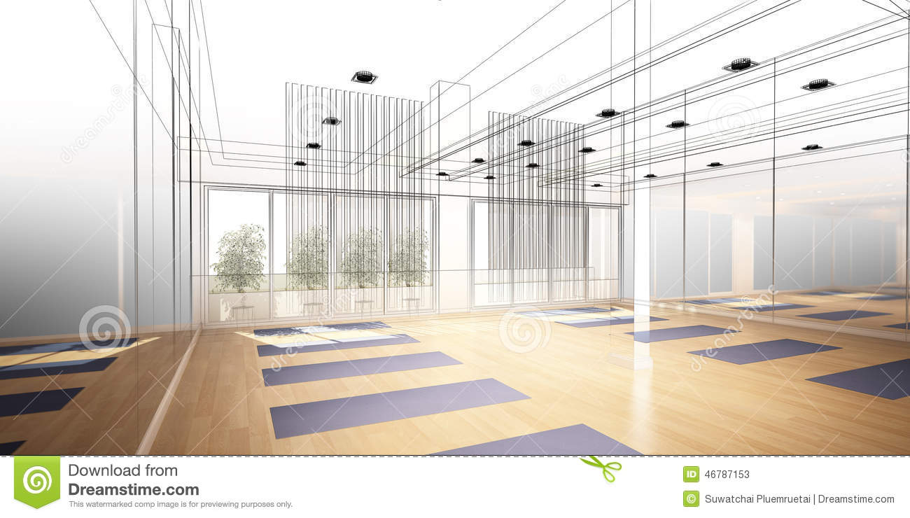 Yoga interior of the room furniture for relaxing quiet for Yoga room interior design