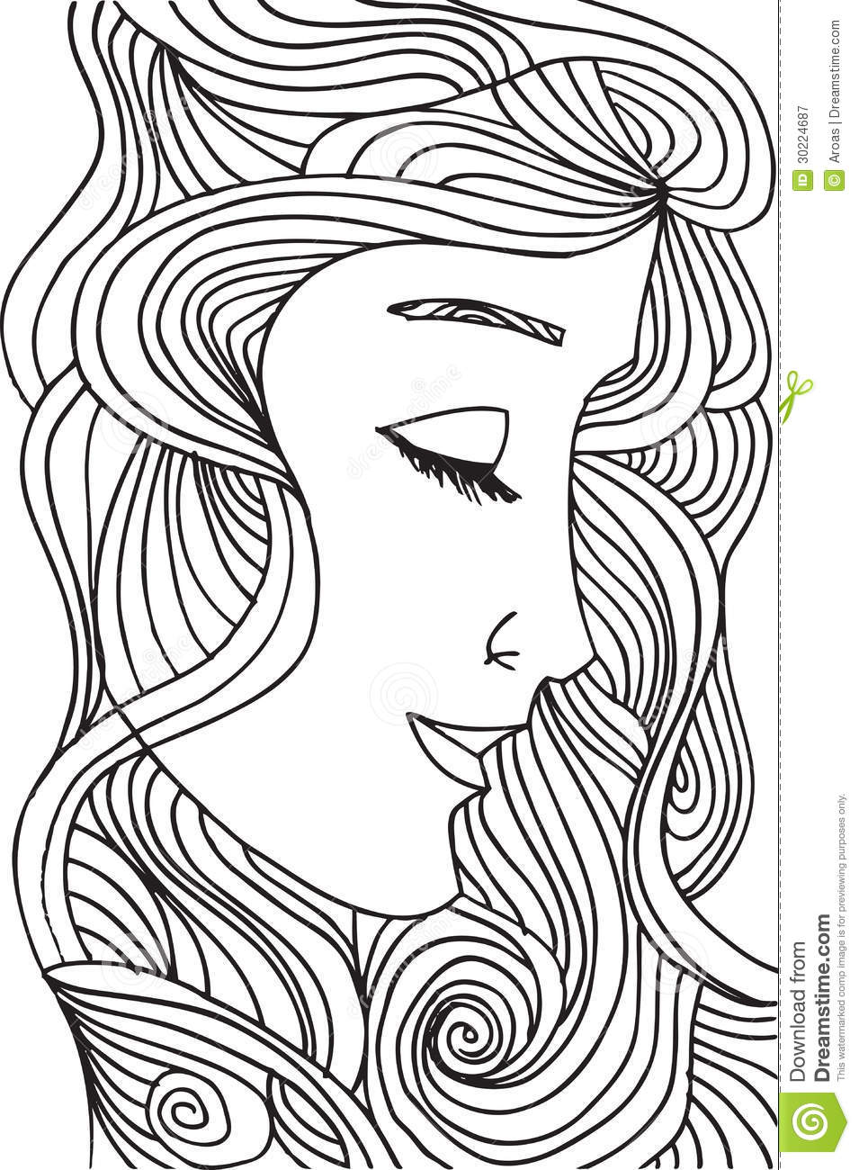 Abstract Face Line Drawing : Abstract sketch of woman face royalty free stock