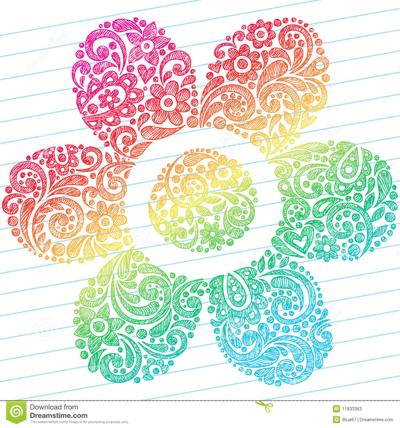 ... Notebook Doodles in a Flower Shape on Lined Notebook Paper Background