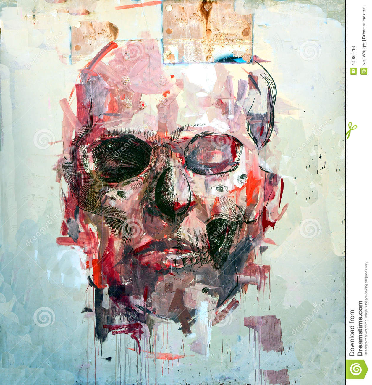Scary Abstract Skull Halloween Editorial Photo Image
