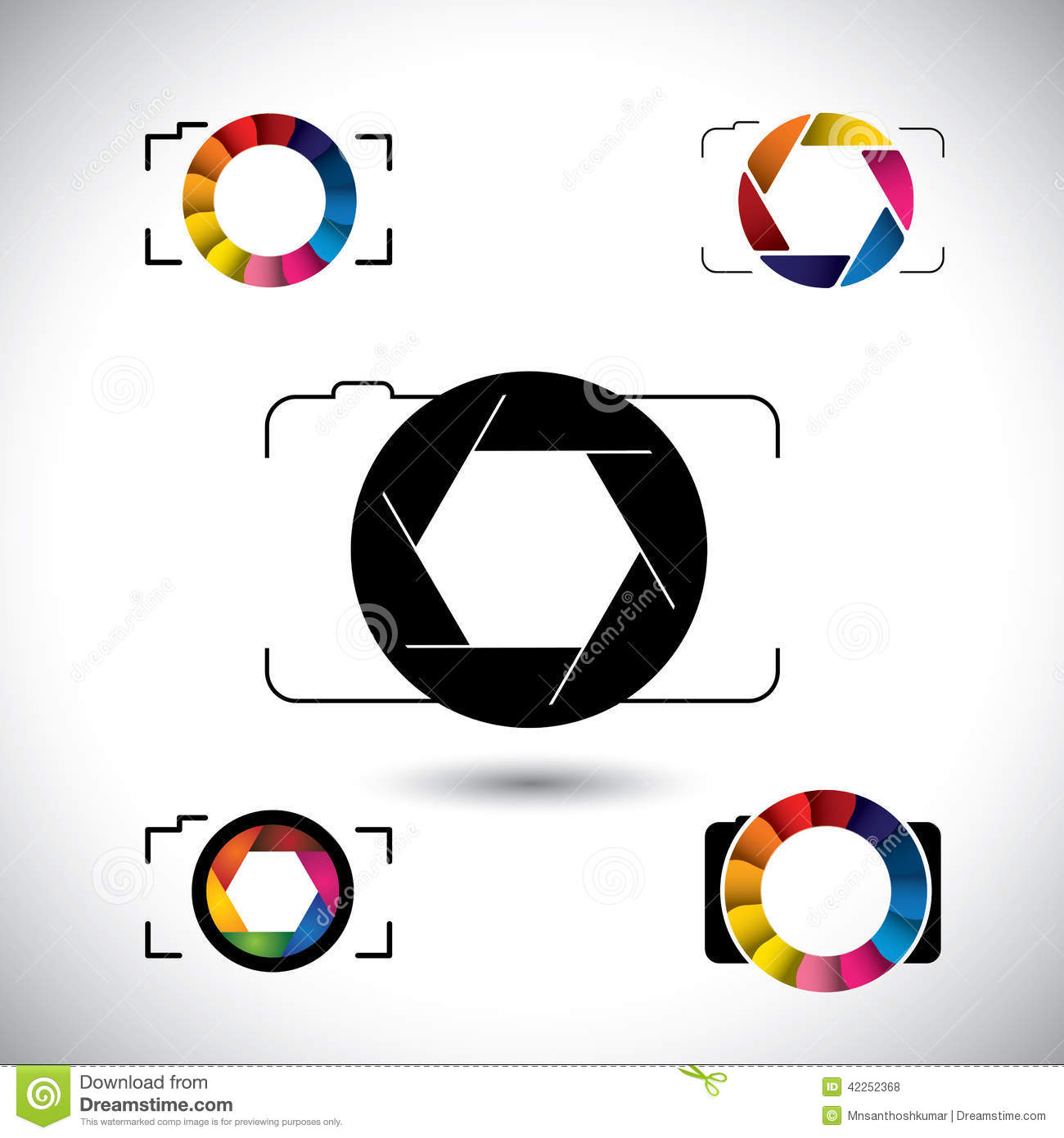 Abstract slr camera concept vector icons