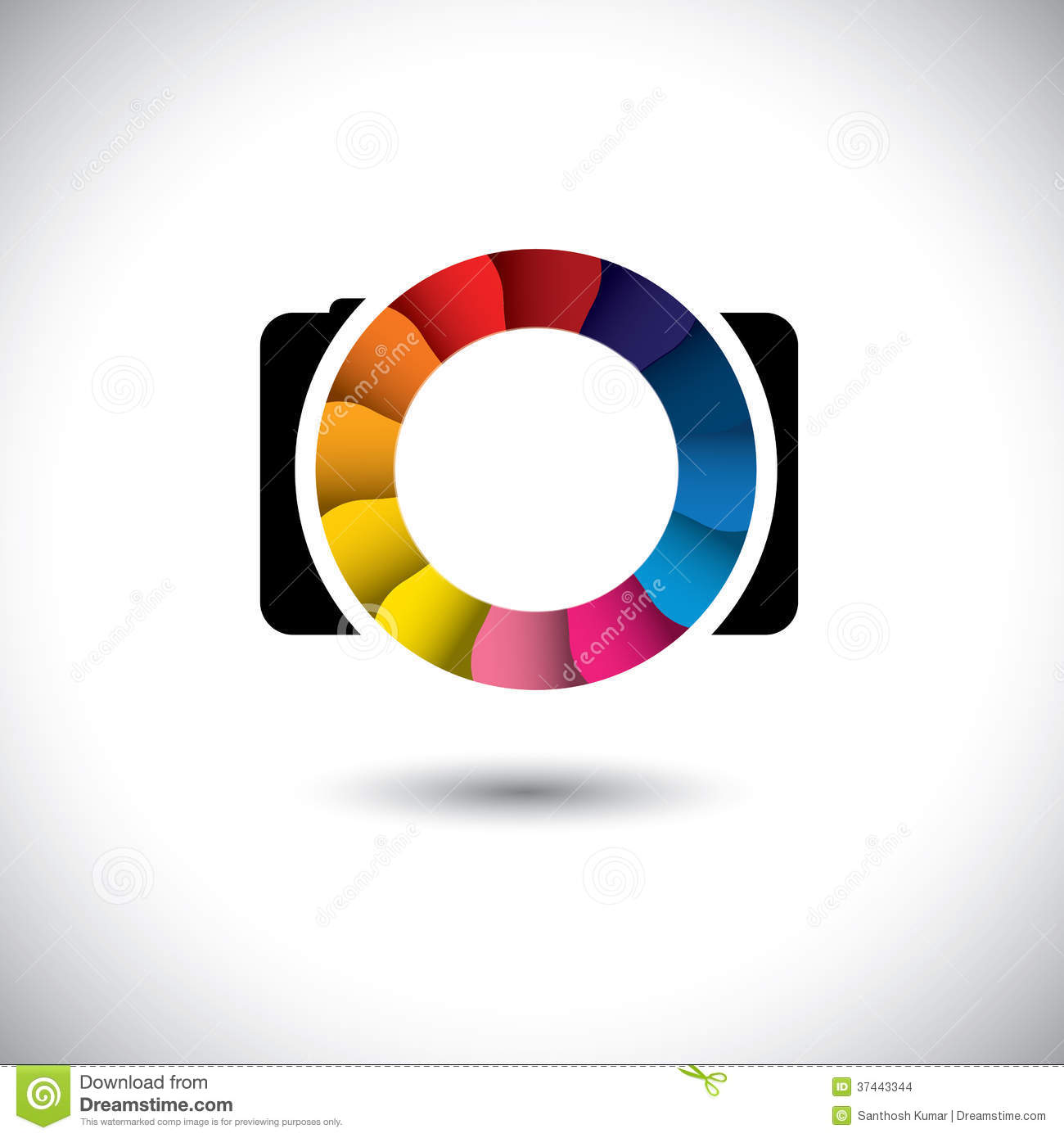 abstract slr digital camera with colorful shutter vector