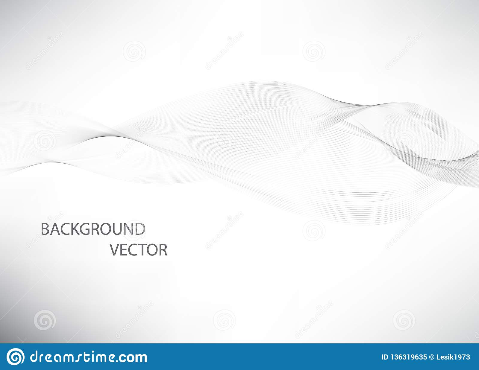 Abstract smooth gray wave vector. Curve flow grey motion illustration. Gray smoke. Business wave background.