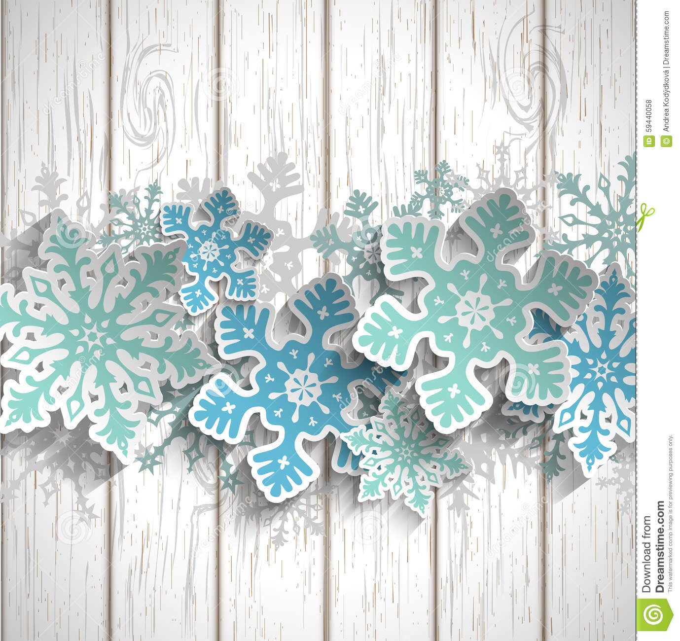 Snow White Wall Stickers Abstract Snowflakes On White Wood Winter Concept
