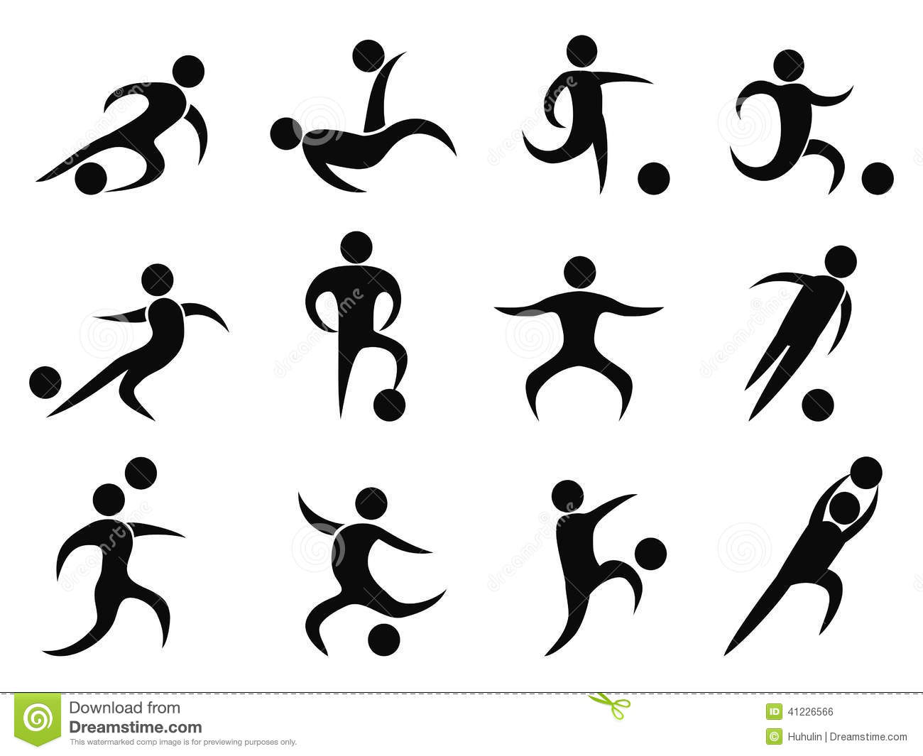 abstract soccer players icons stock vector