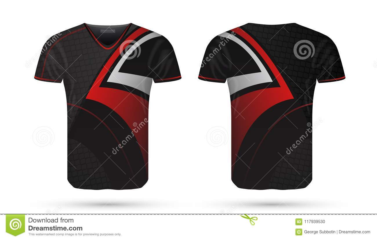 9a1251e1b78 Abstract Soccer Red And Black Design Sport T-shirt Template Stock ...