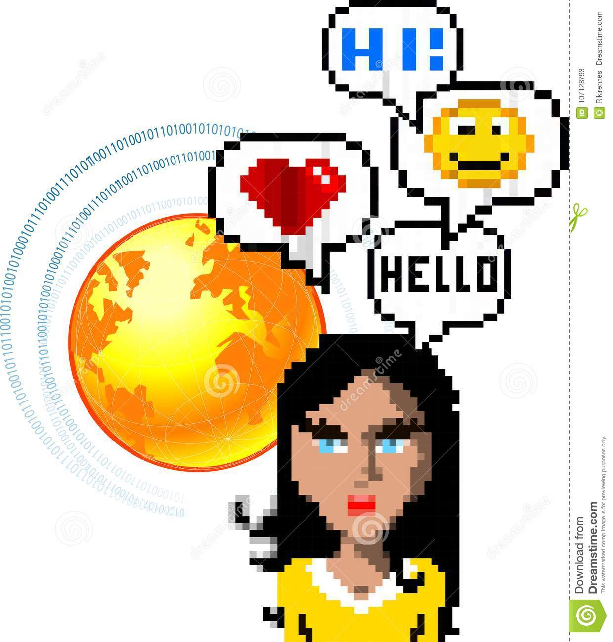 social network media chat concept with pixel people avatars and