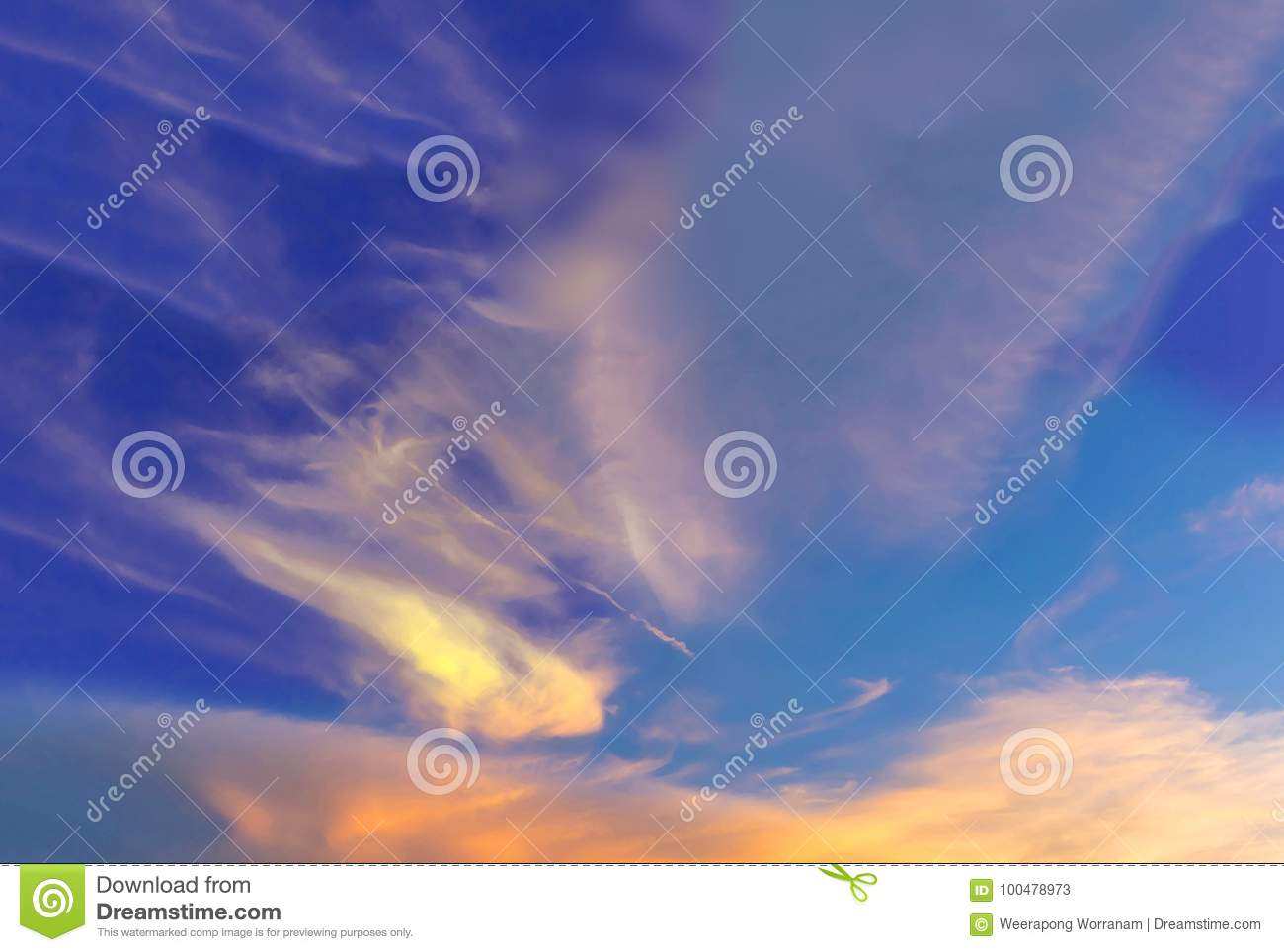 Abstract soft blurred and soft focus silhouette of the sunset with the colorful beautiful sky and cloud in the evening by the beam