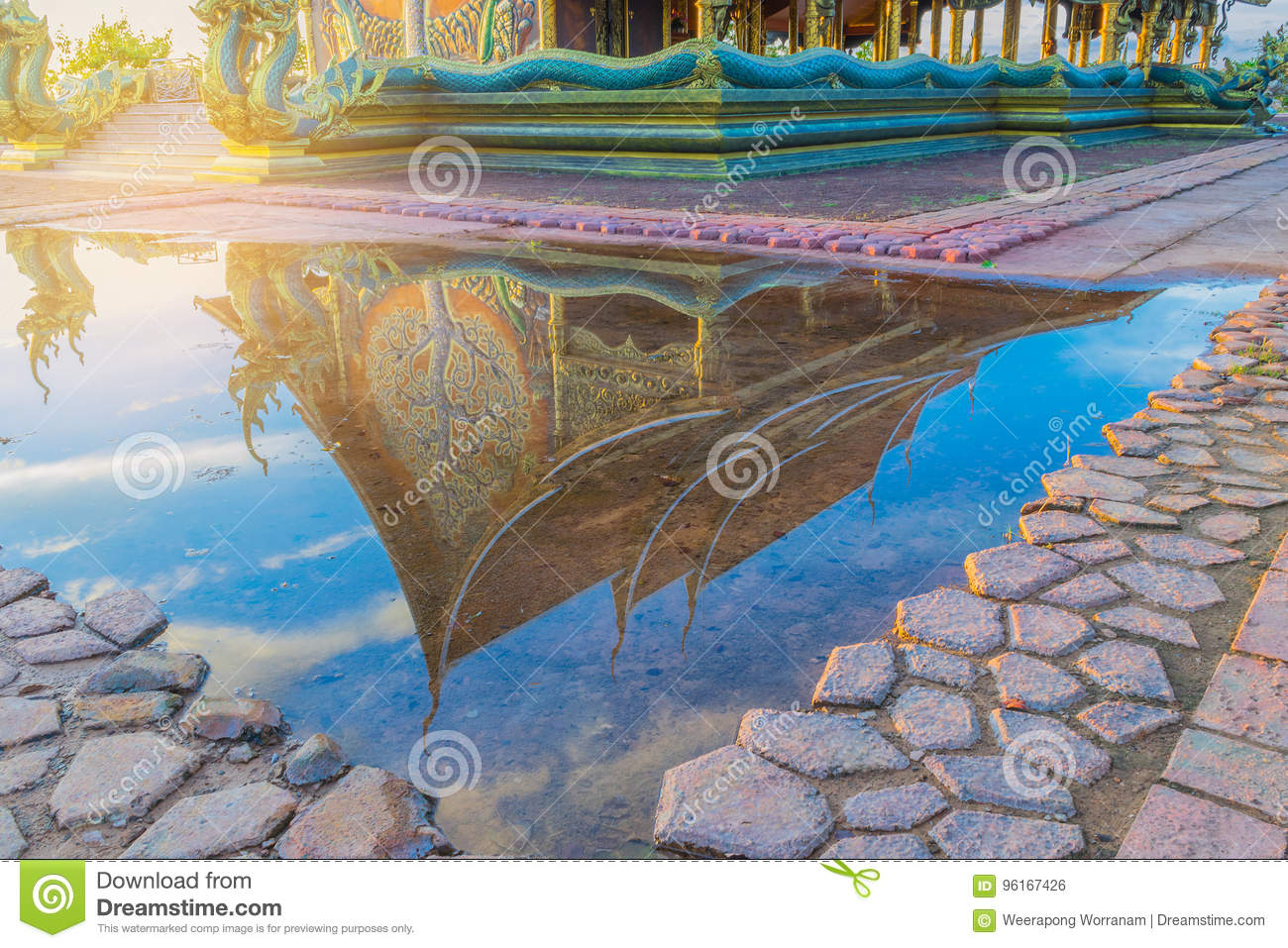Abstract soft blurred and soft focus silhouette the sanctuary, temple, with shadow reflected in the water, the beam, light and len