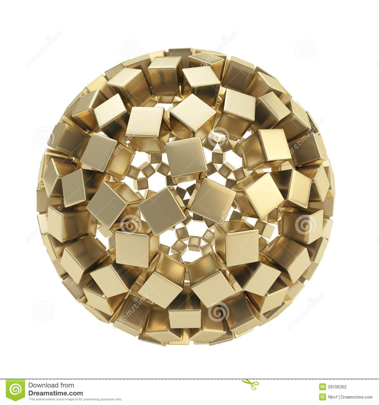 Abstract sphere made of golden cubes isolated