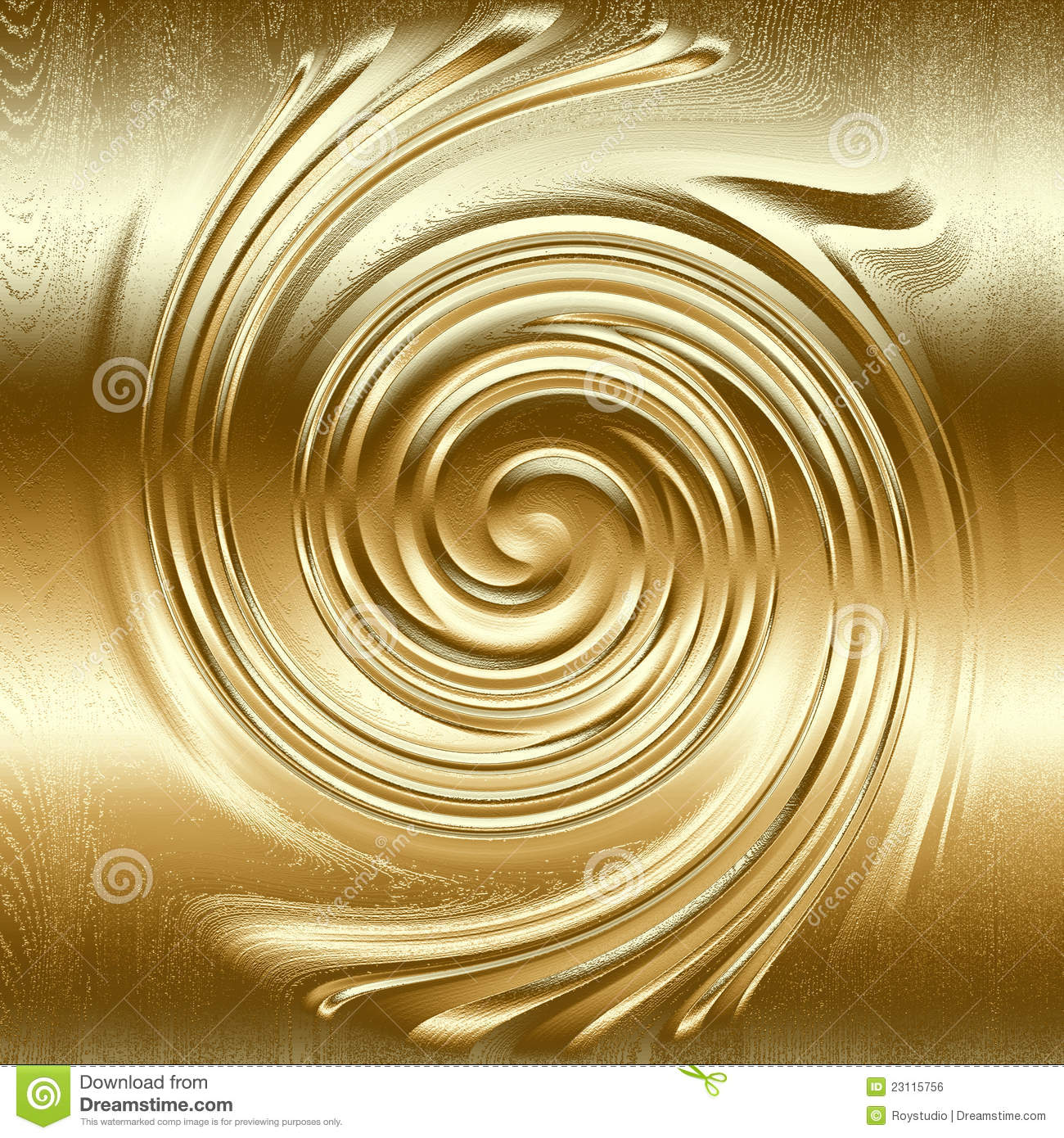 Abstract Spiral Metal Relief Gold Color Royalty Free