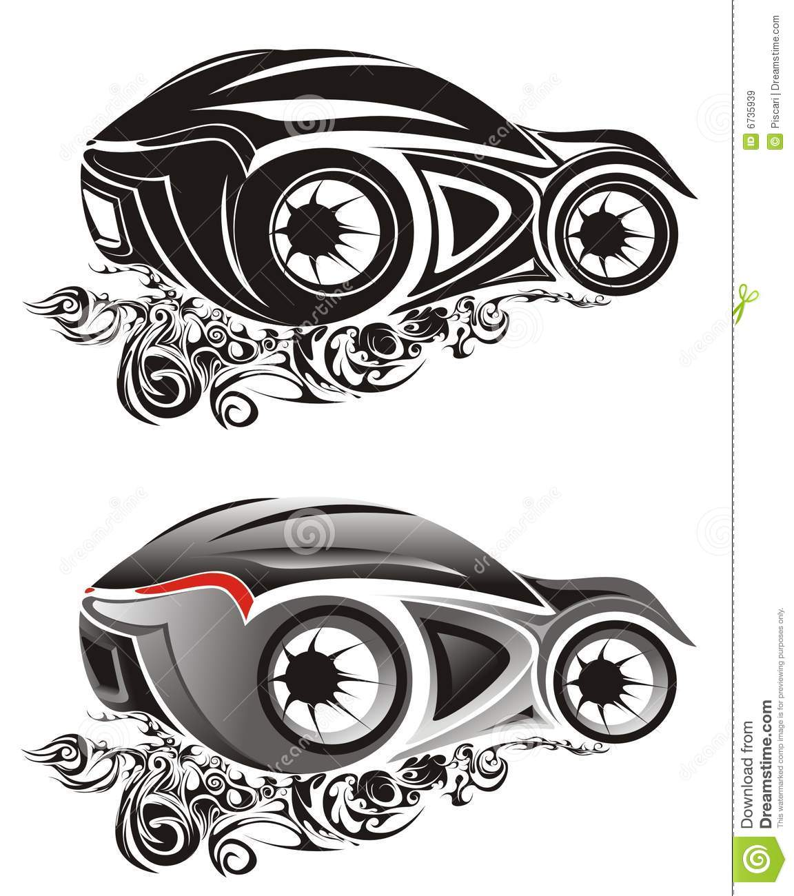 Abstract sports car drawings