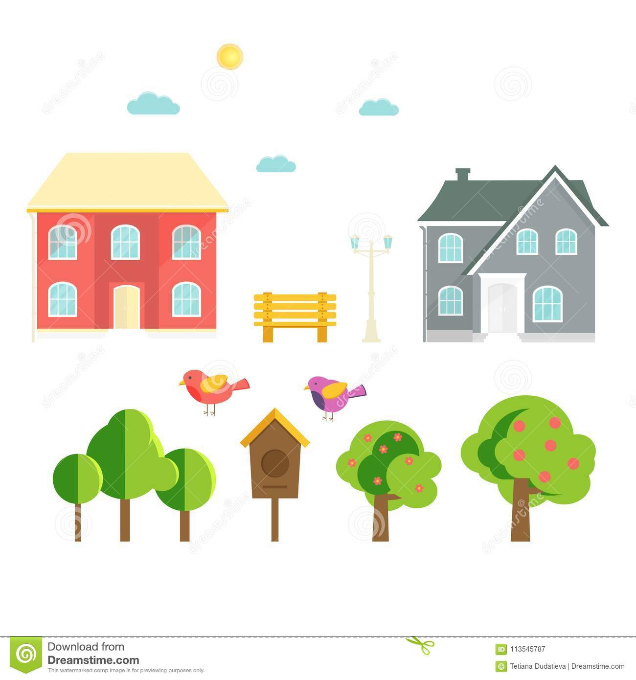 Pleasing Abstract Spring Background With Cozy Home House Cottage Download Free Architecture Designs Fluibritishbridgeorg