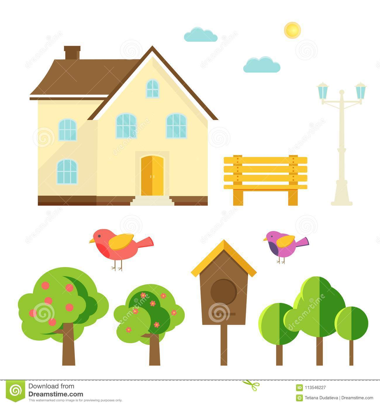 Fabulous Abstract Spring Background With Cozy Home House Cottage Download Free Architecture Designs Fluibritishbridgeorg