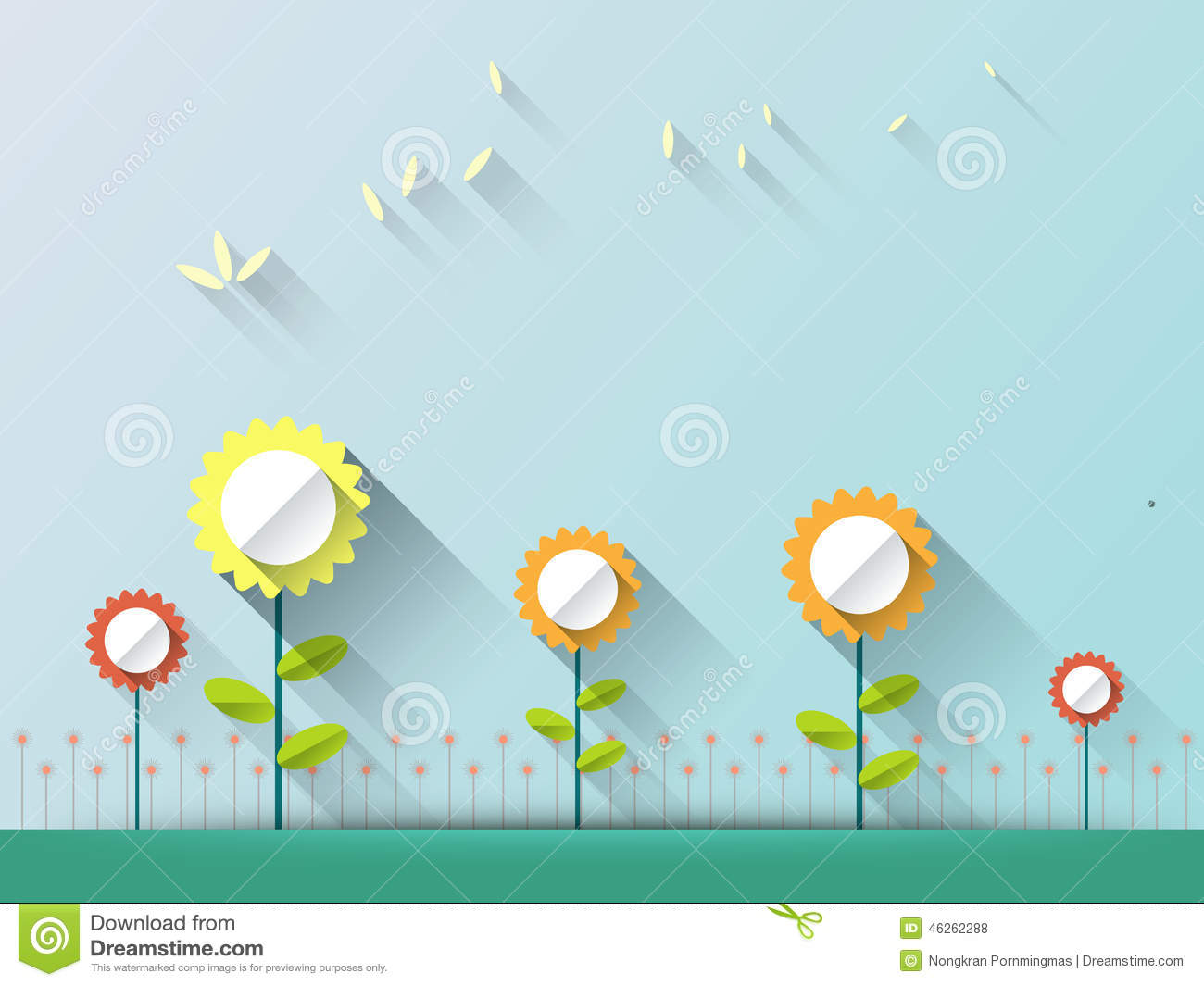 Abstract Spring Background With Paper Flowers With Space For Design