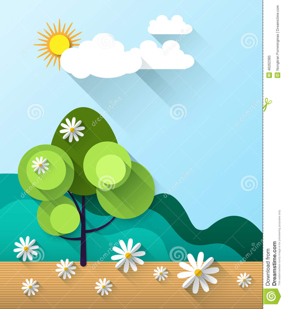 Abstract Spring Card Background With Paper Flowers Stock Vector