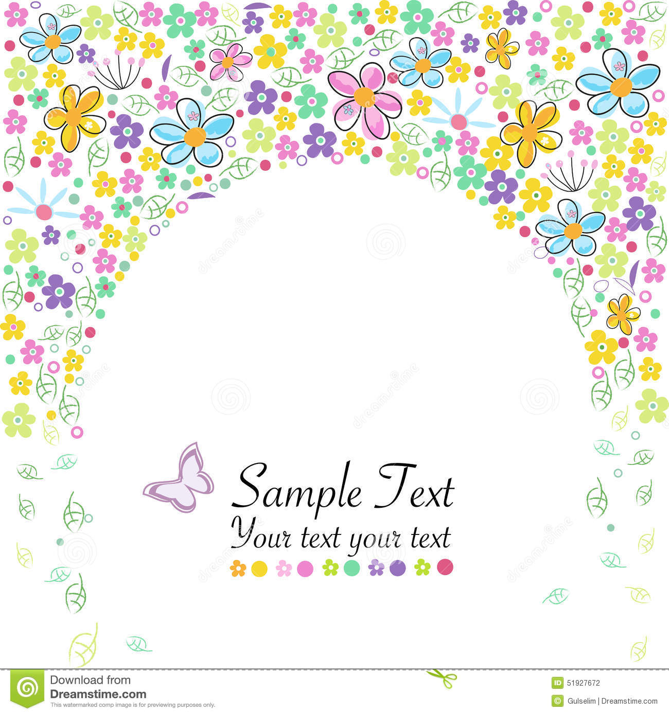 Abstract spring flowers border background vector