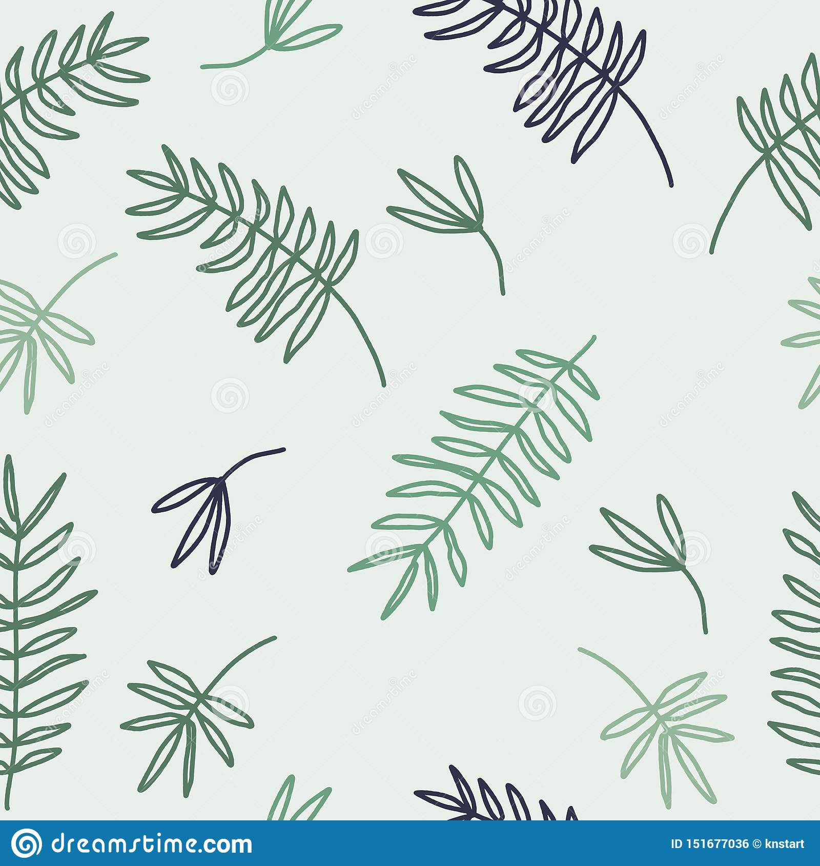 Abstract Spring Seamless Pattern With Leaves In Pastel Green Colors On Light Background Scandi Decor Wall Art Wallpaper Stock Illustration Illustration Of Background Nursery 151677036