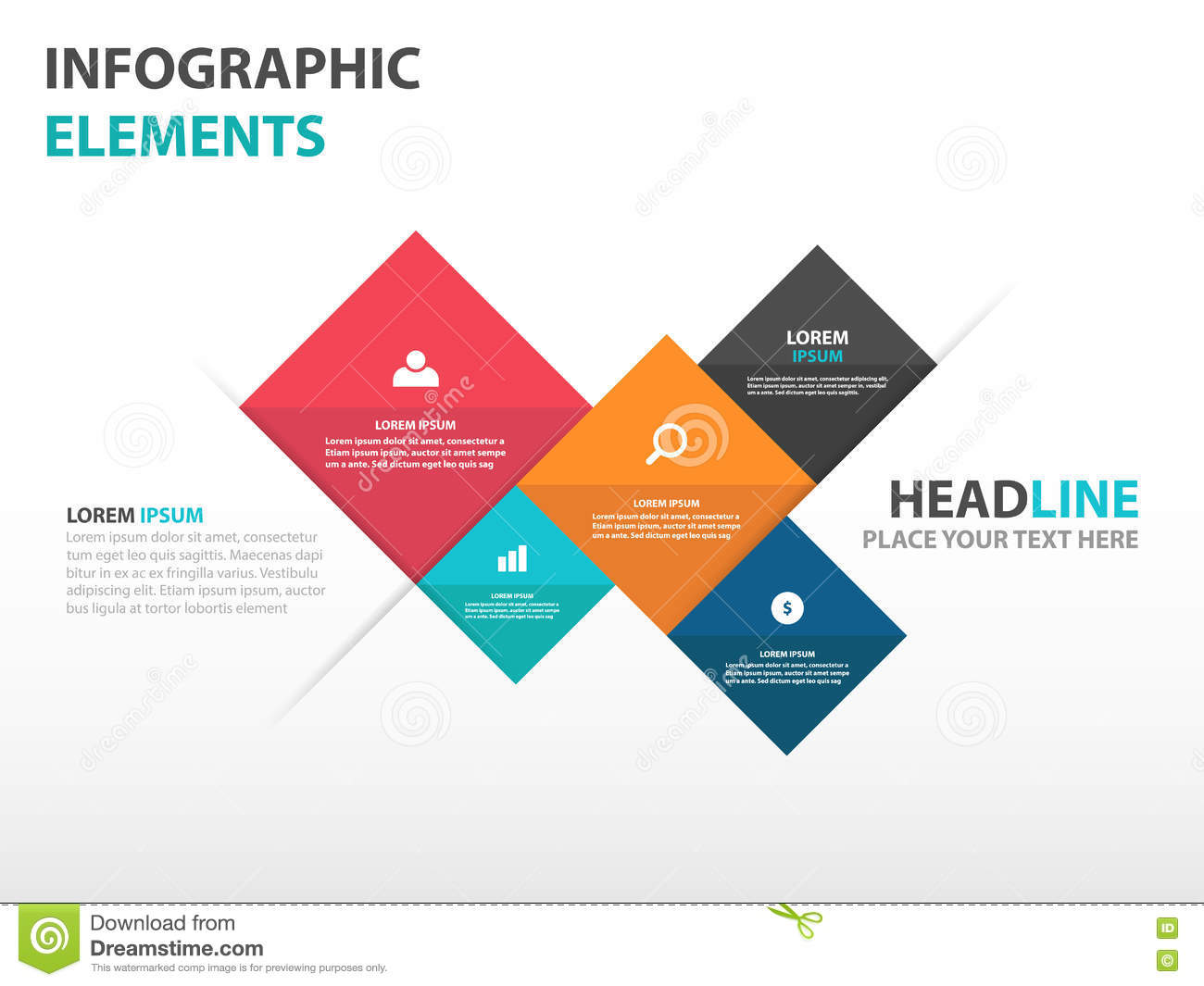 Elements By Design : Abstract square business infographics elements